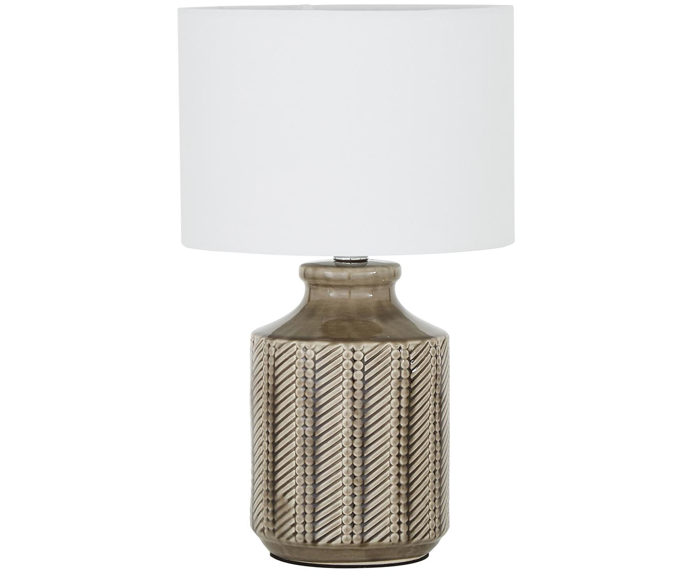 Keramik-Tischleuchte Nia, Lampenschirm: Textil, Lampenfuß: Keramik, Metall, vernicke, Lampenschirm: WeißLampenfuß: Braun, Nickel, Ø 26 x H 43 cm