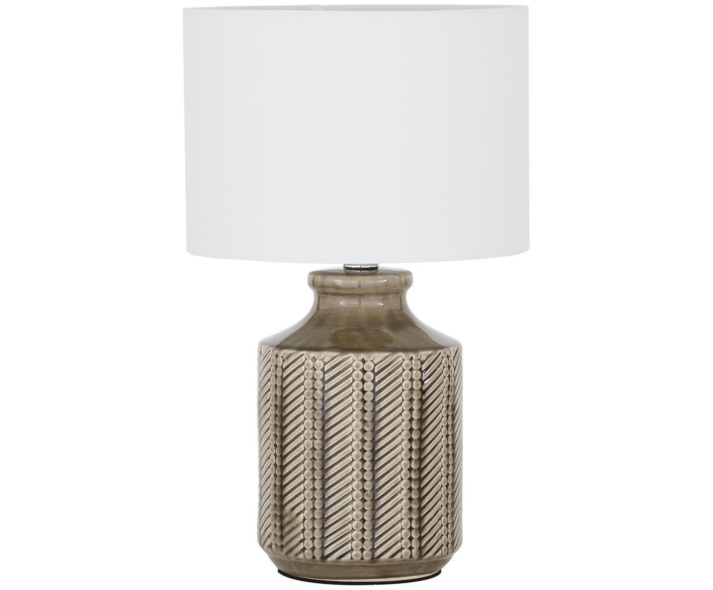 Keramische tafellamp Nia, Lampenkap: textiel, Lampvoet: keramiek, vernikkeld meta, Lampenkap: wit. Lampvoet: bruin, nikkelkleurig, Ø 26 x H 43 cm