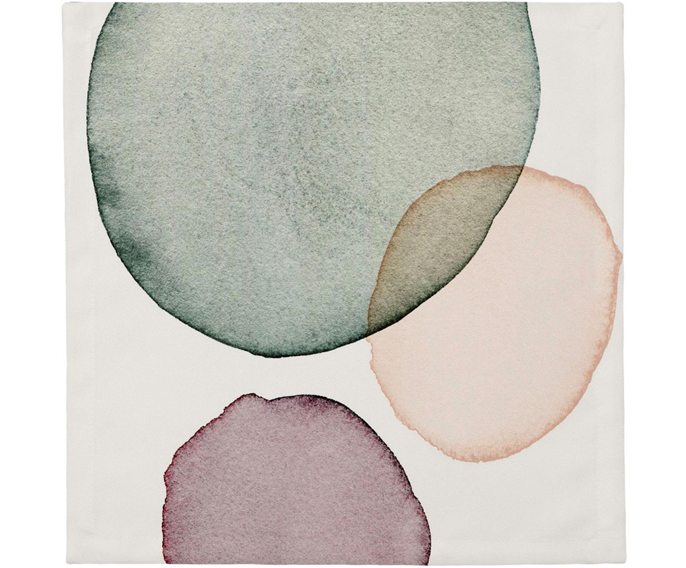 Stoffen servetten Calm, 4 stuks, Katoen, Wit, groen, lila, zalmkleurig, 40 x 40 cm