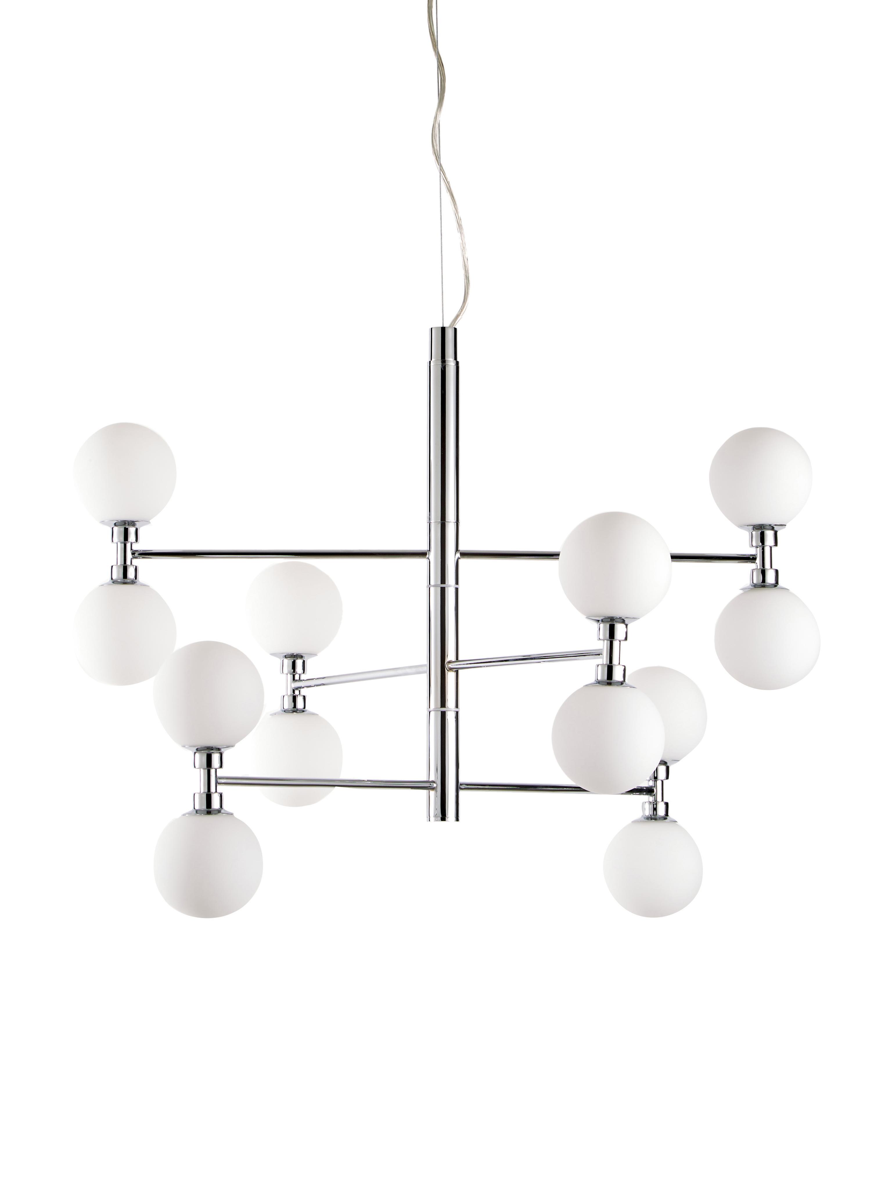Lampada a sospensione con sfere di vetro Grover, Baldacchino: metallo cromato, Paralume: vetro, Cromo, Ø 70 x Alt. 56 cm