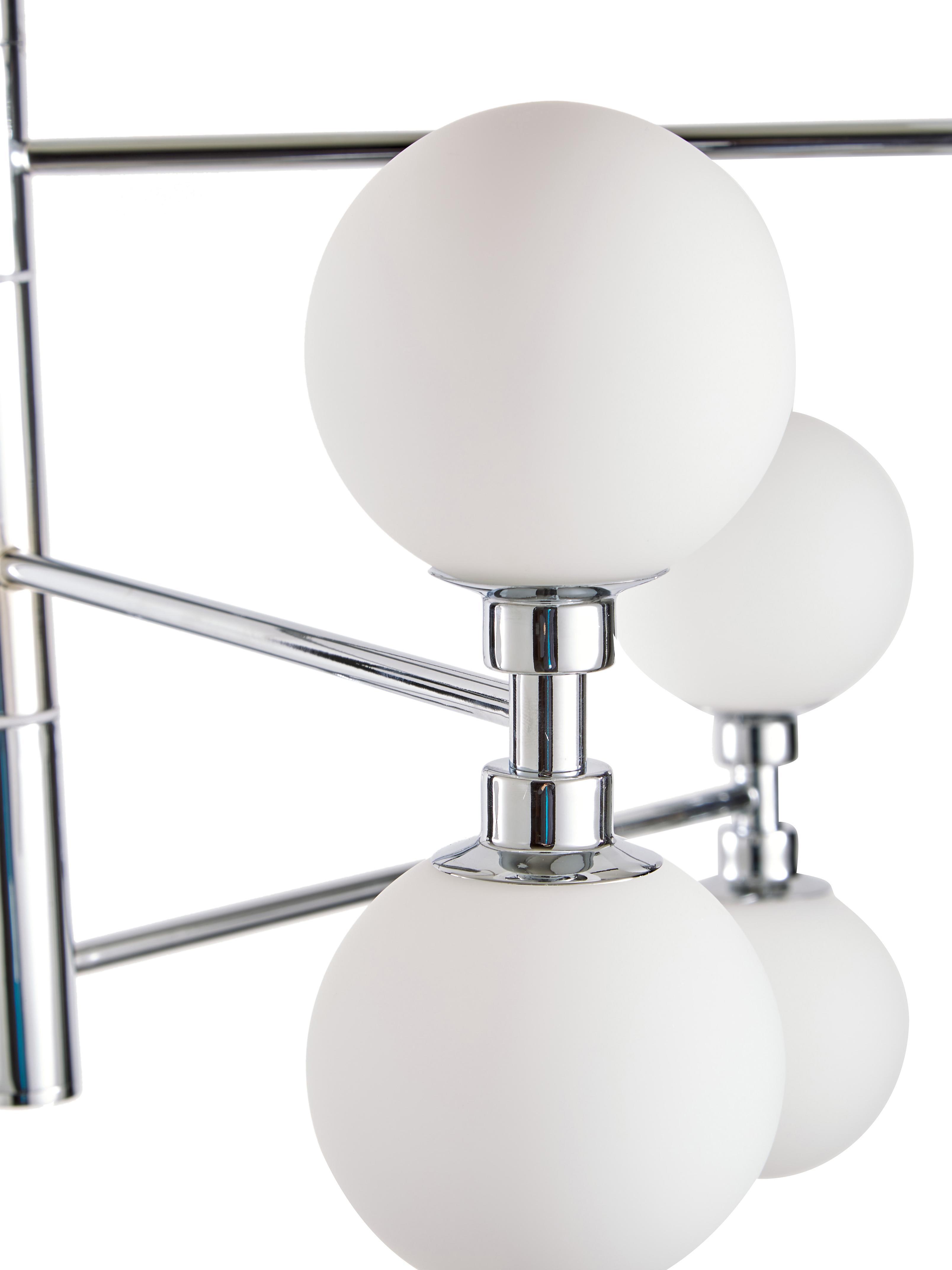 Suspension à globes verre Grover, Chrome