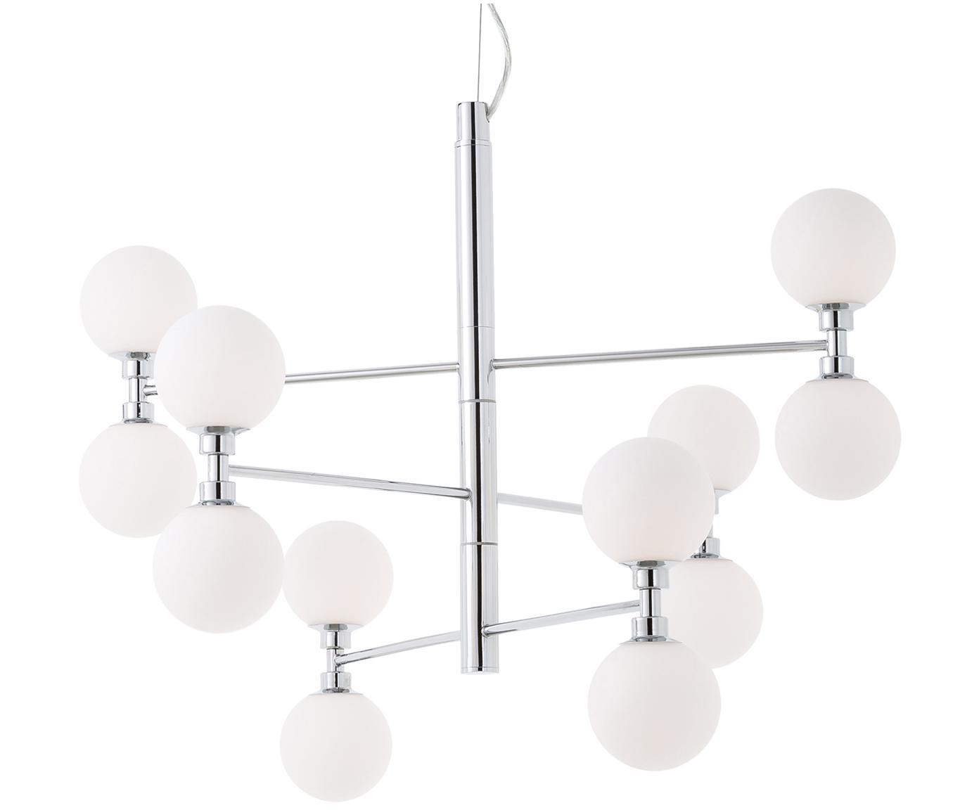 Hanglamp met glazen bollen Grover, Baldakijn: verchroomd metaal, Chroomkleurig, Ø 70 x H 56 cm