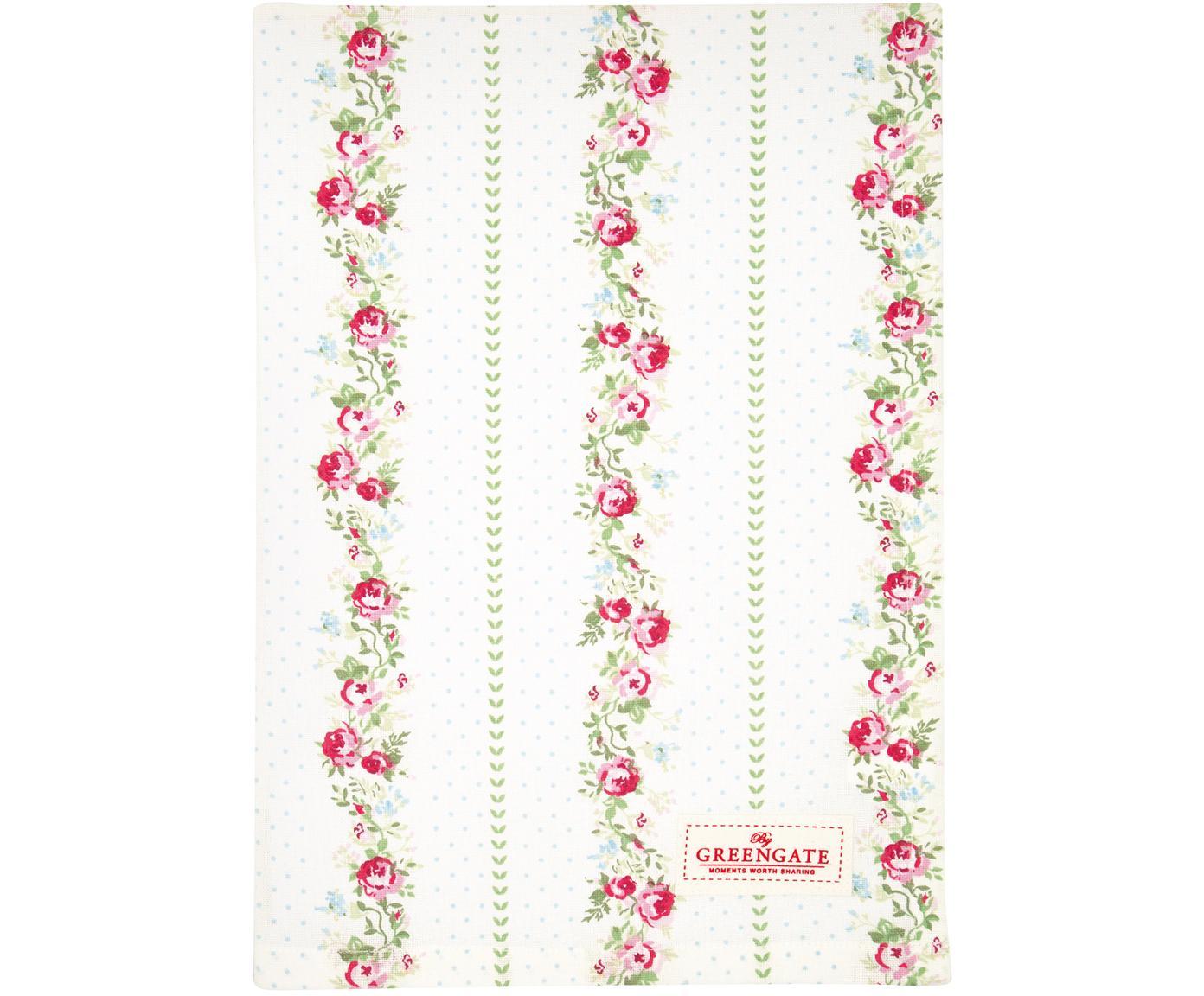 Geschirrtuch Gabby mit Rosenmuster, Baumwolle, Weiß, Grün, Pink, 50 x 70 cm