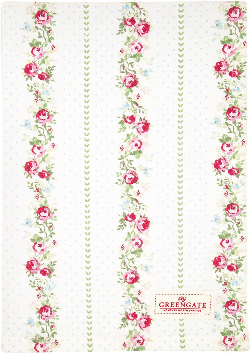Paño de cocina Gabby, Algodón, Blanco, verde, rosa, An 50 x L 70 cm