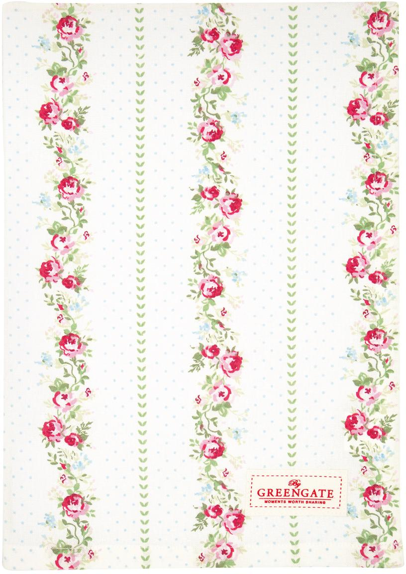 Theedoek Gabby met rozenpatroon, Katoen, Wit, multicolour, 50 x 70 cm