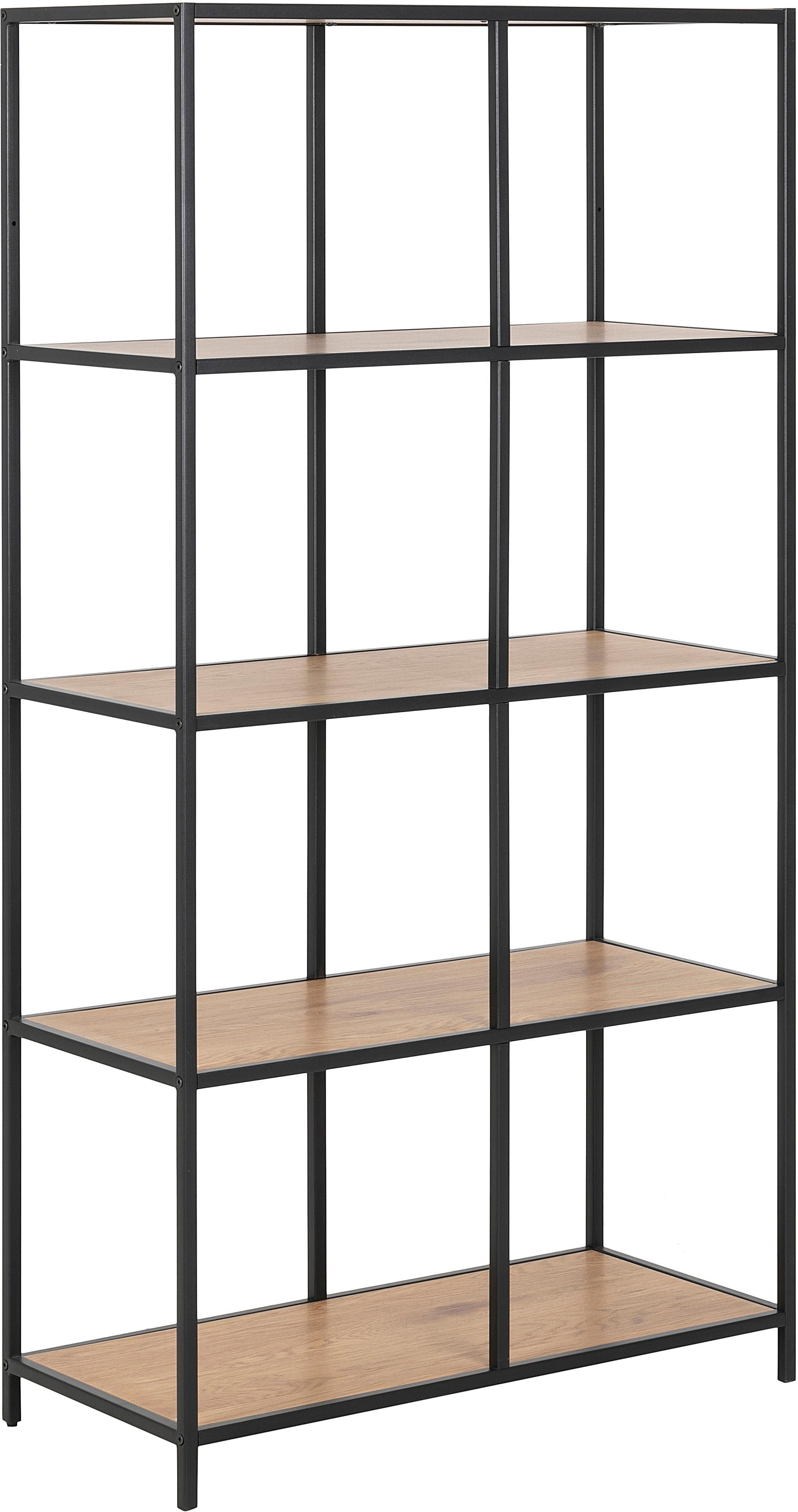 Estantería de madera y metal Seaford, Estantería: tablero de fibras de dens, Estructura: metal con pintura en polv, Marrón, An 77 x Al 150 cm