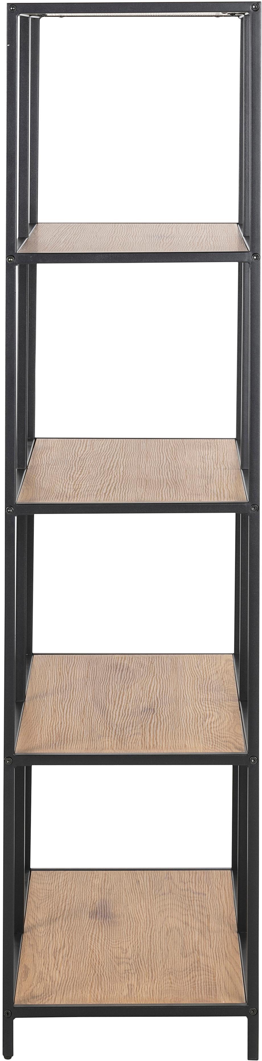 Standregal Seaford aus Holz und Metall, Gestell: Metall, pulverbeschichtet, Braun, 77 x 150 cm