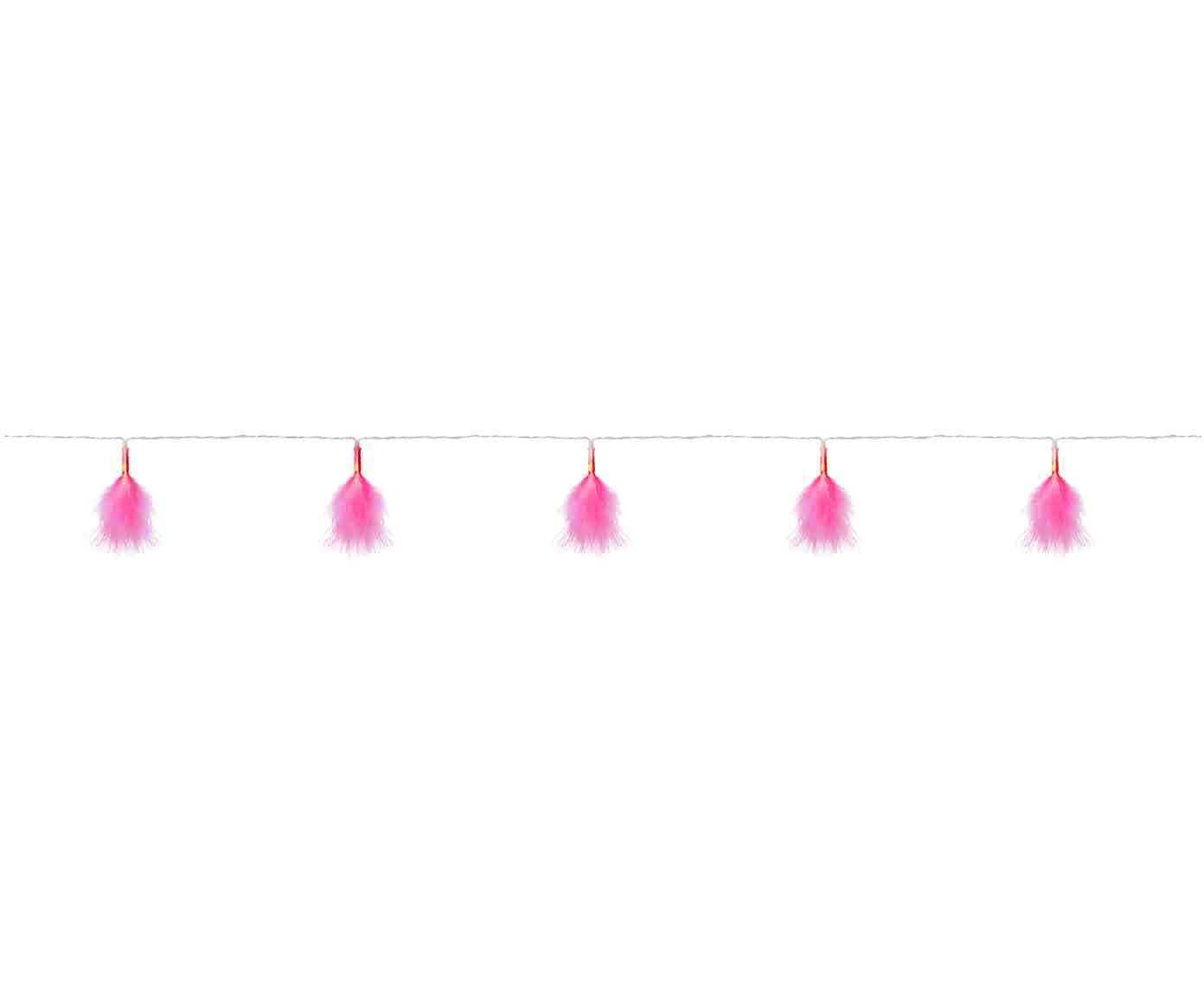 LED Lichterkette Dun, Kunststoff, Polyester, Rosa, Transparent, L 270 cm