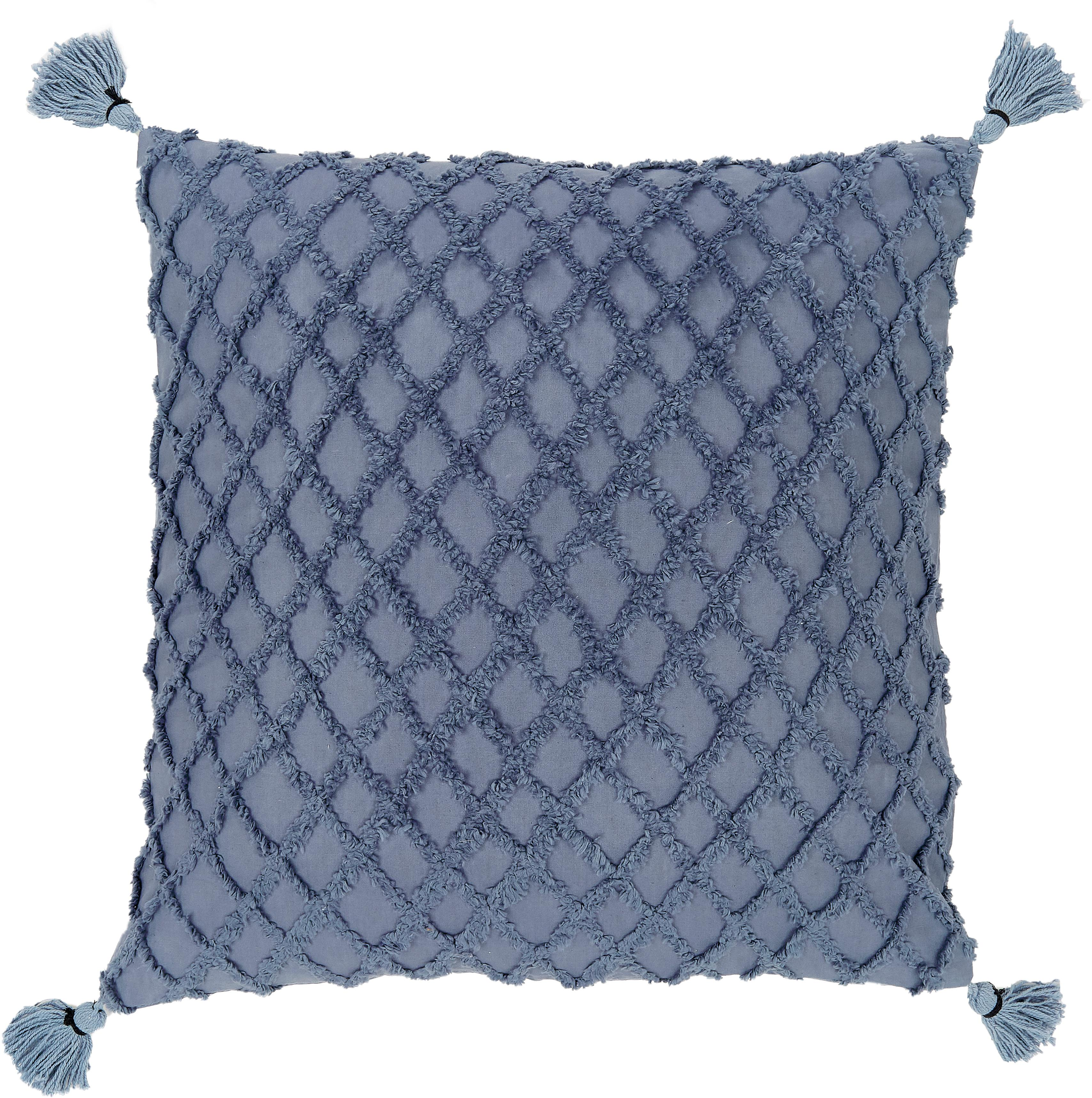 Kussenhoes Royal met hoog-laag patroon, 100% katoen, Blauw, 45 x 45 cm