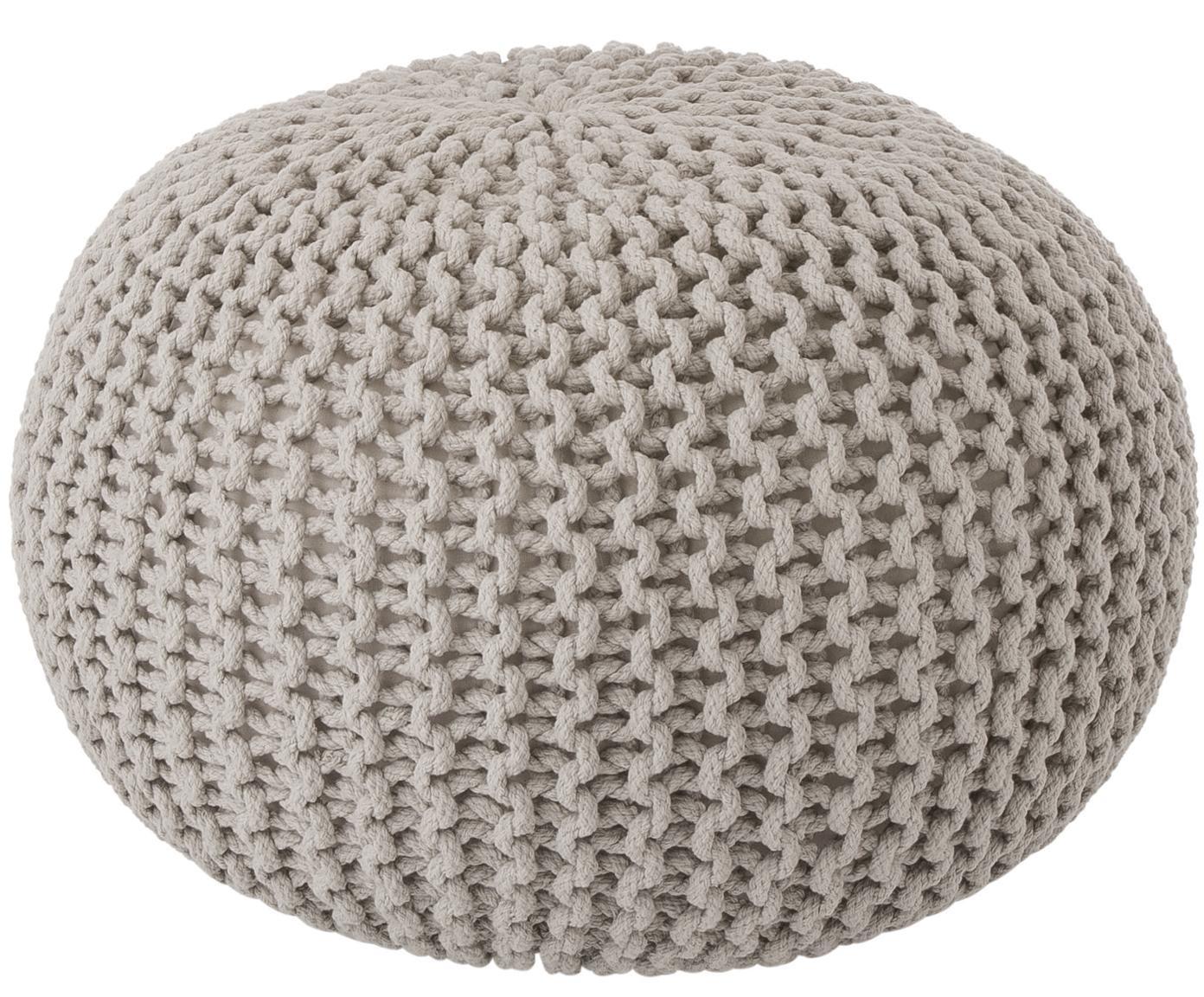 Puf de punto artesanal Dori, Tapizado: 100%algodón, Gris pardo, Ø 55 x Al 35 cm