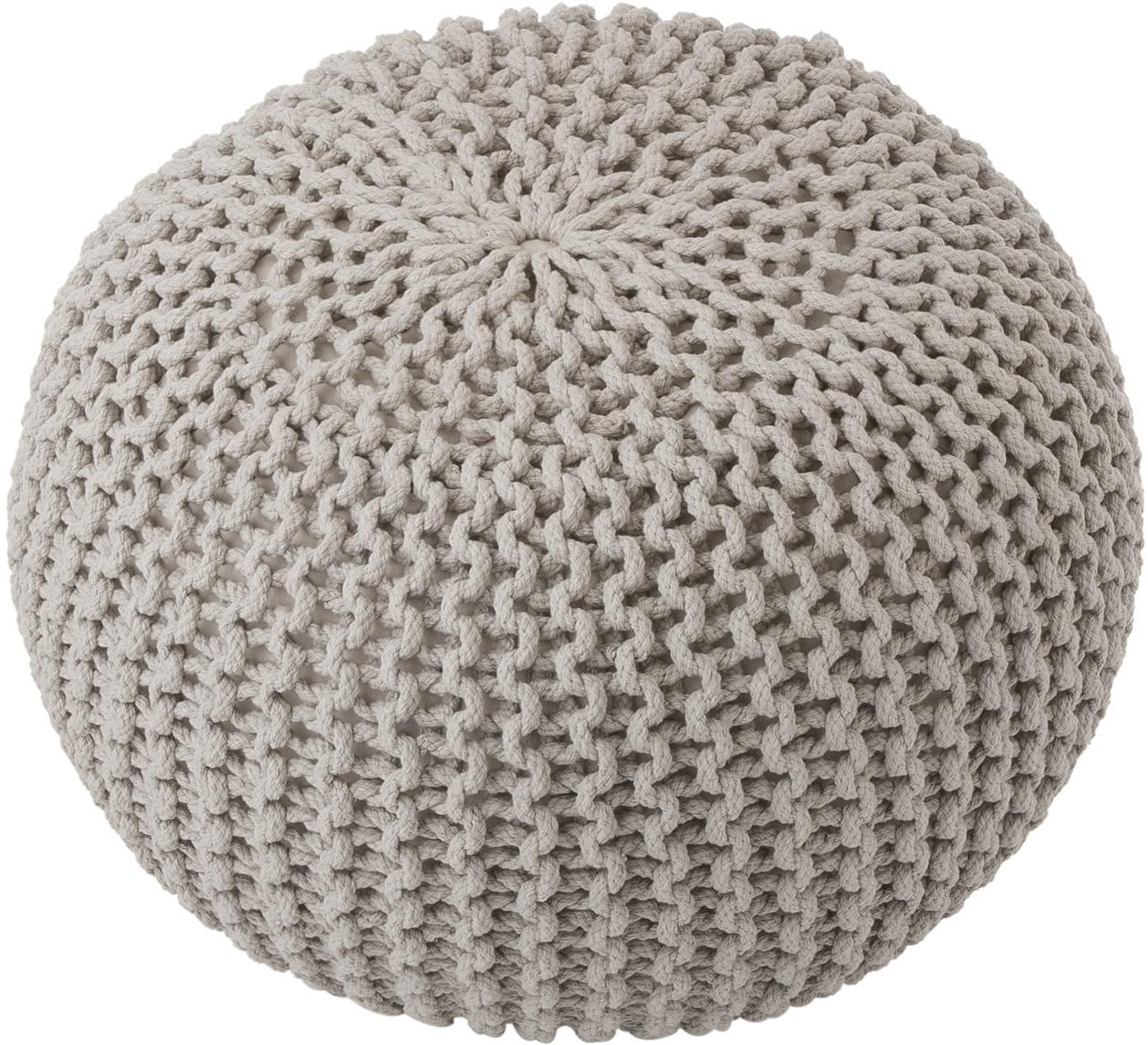 Handgefertigter Strickpouf Dori, Bezug: 100% Baumwolle, Taupe, Ø 55 x H 35 cm