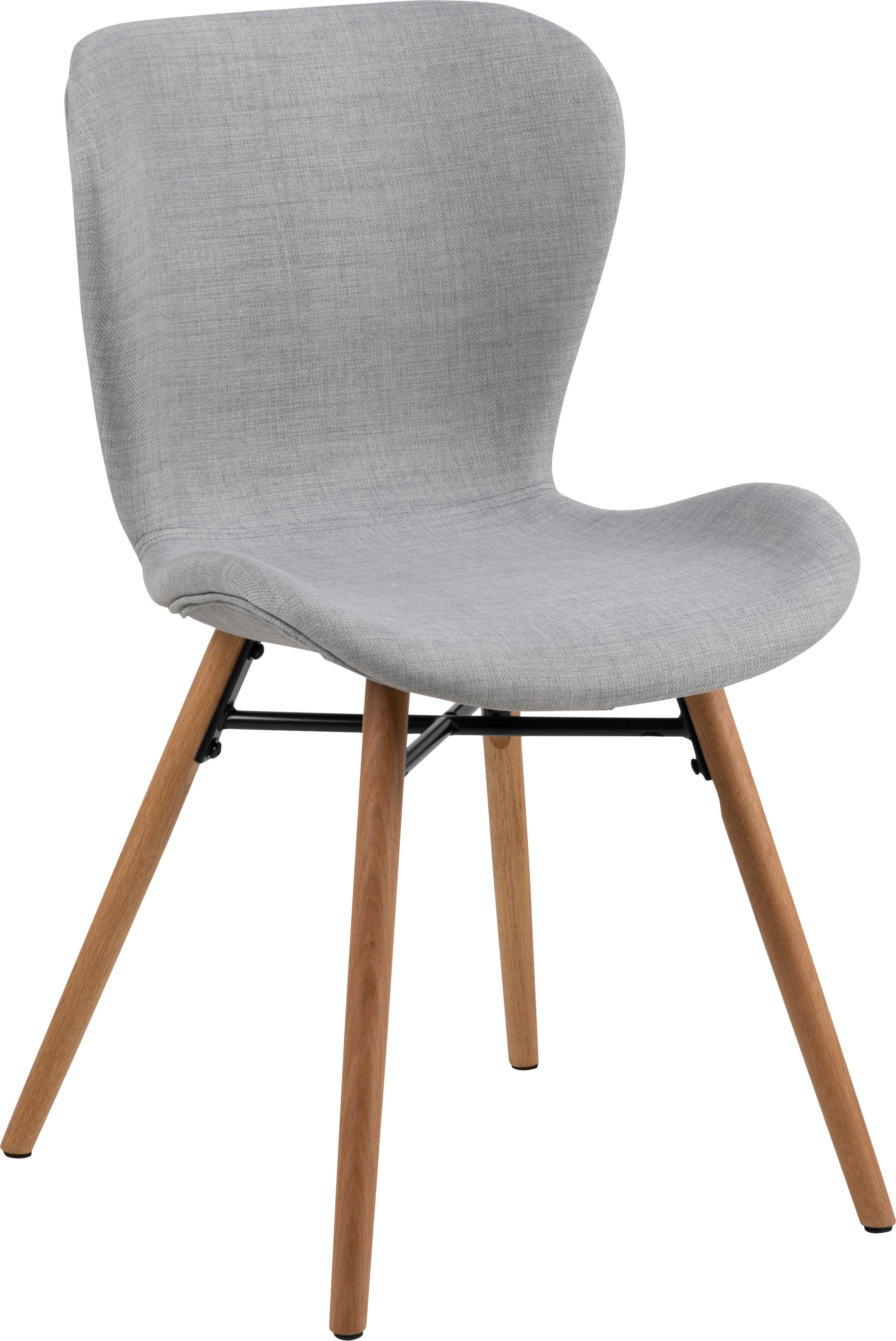 Krzesło tapicerowane Batilda, 2 szt., Tapicerka: poliester 25000 cykli w , Nogi: drewno dębowe, lite, laki, Jasny szary, S 56 x W 83 cm