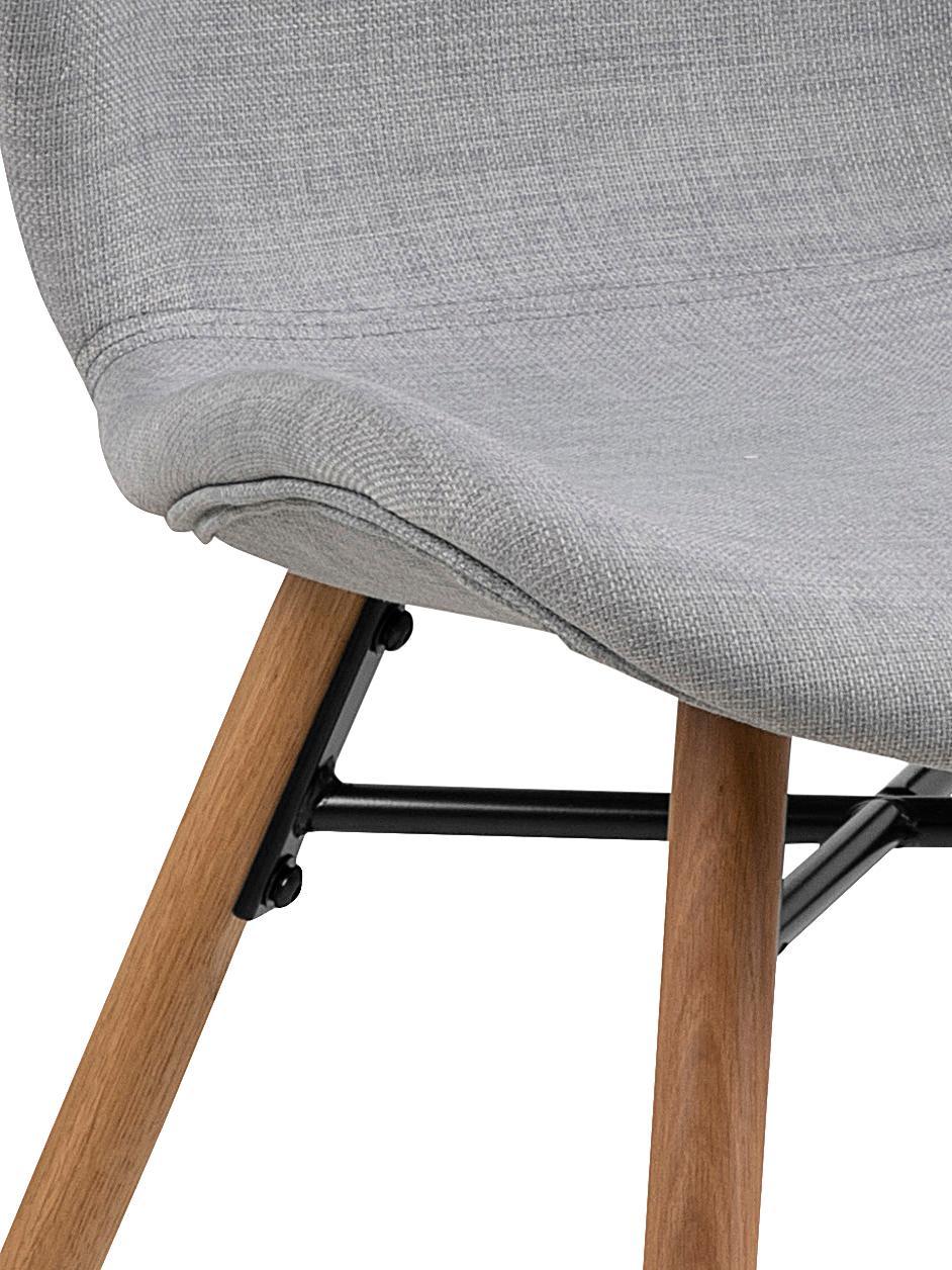 Sedia imbottita Batilda 2 pz, Rivestimento: poliestere 25.000 cicli d, Gambe: Legno di quercia massicci, Tessuto grigio chiaro, Larg. 56 x Alt. 47 cm