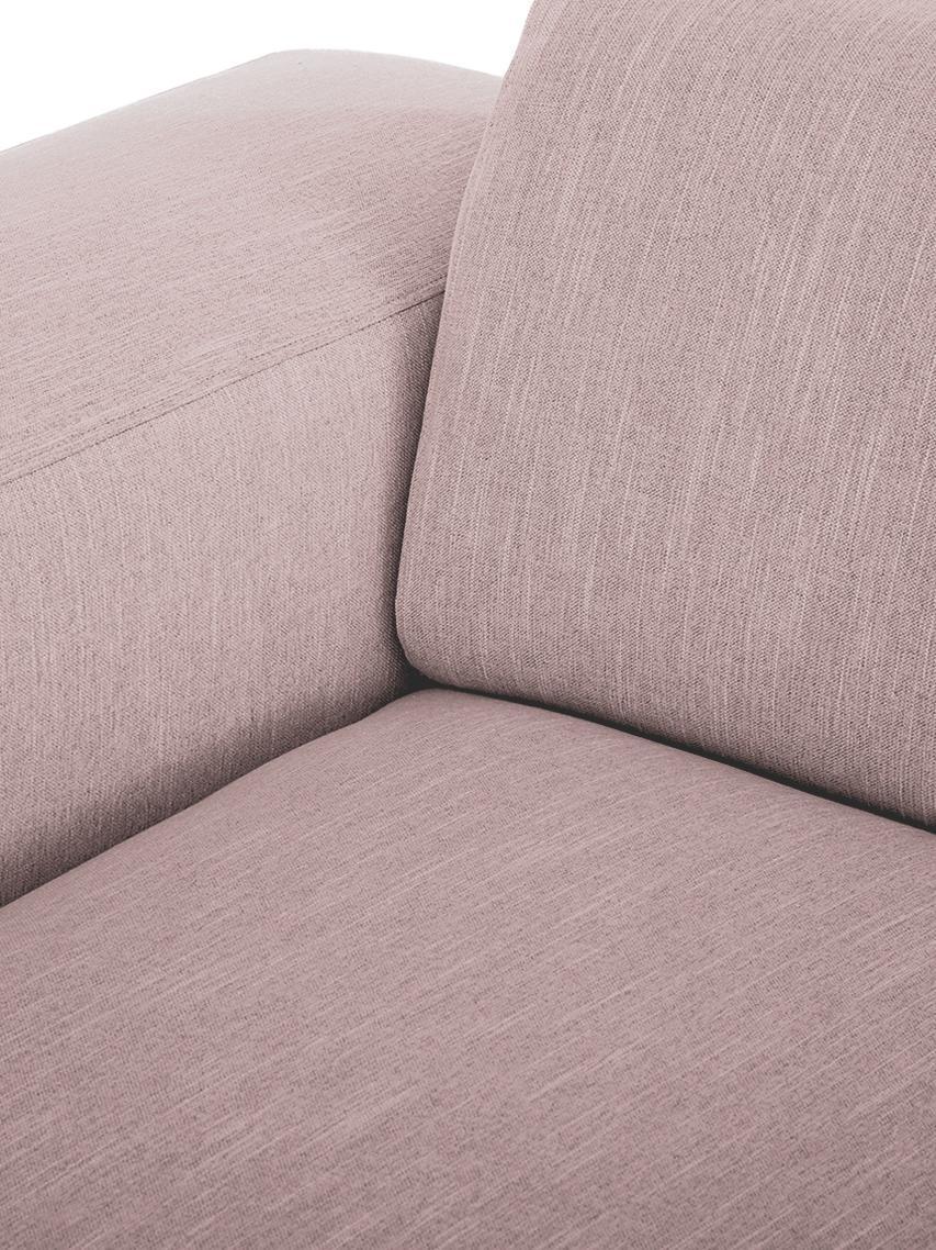Hoekbank Melva (3-zits), Bekleding: polyester, Frame: massief grenenhout, spaan, Poten: grenenhout, Geweven stof roze, B 240 x D 144 cm