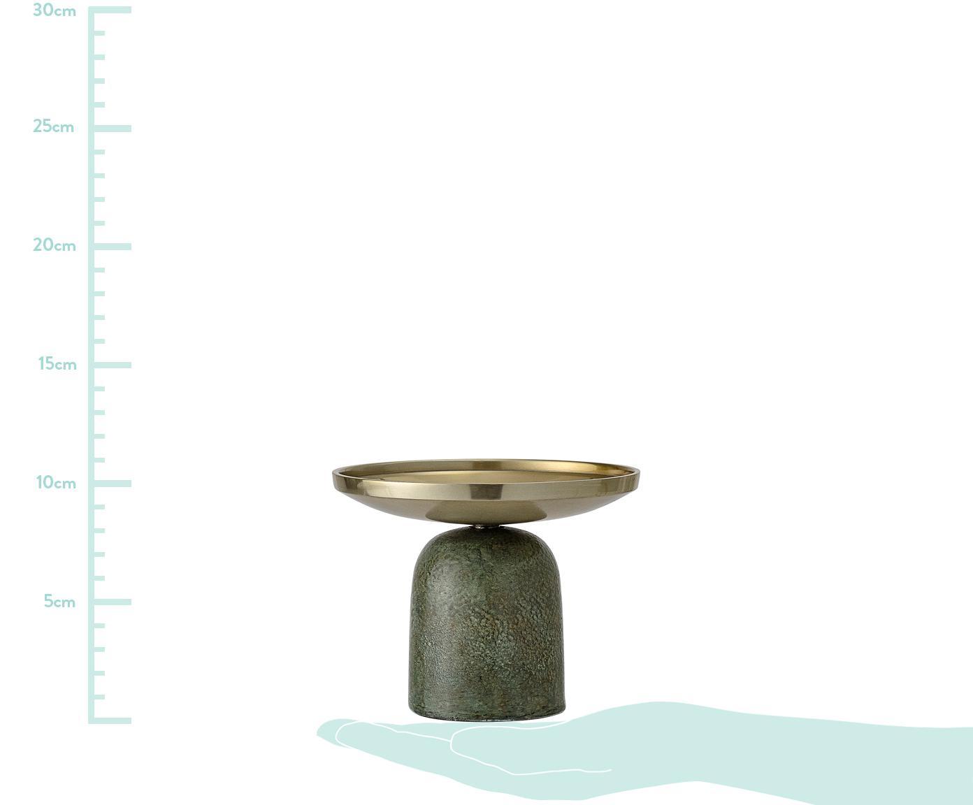 Świecznik Lasse, Aluminium powlekane, Zielony, odcienie mosiądzu, Ø 13 x W 10 cm