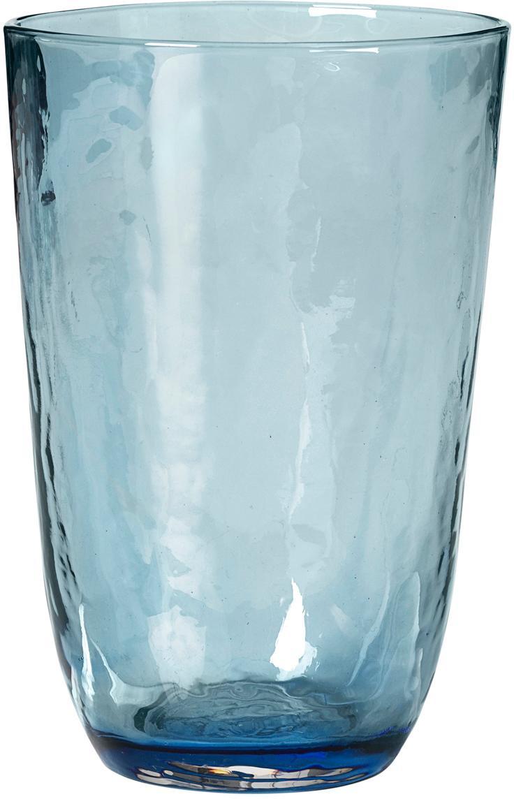 Mondgeblazen waterglazen Hammered, 4 stuks, Mondgeblazen glas, Blauw, transparant, Ø 9 x H 14 cm