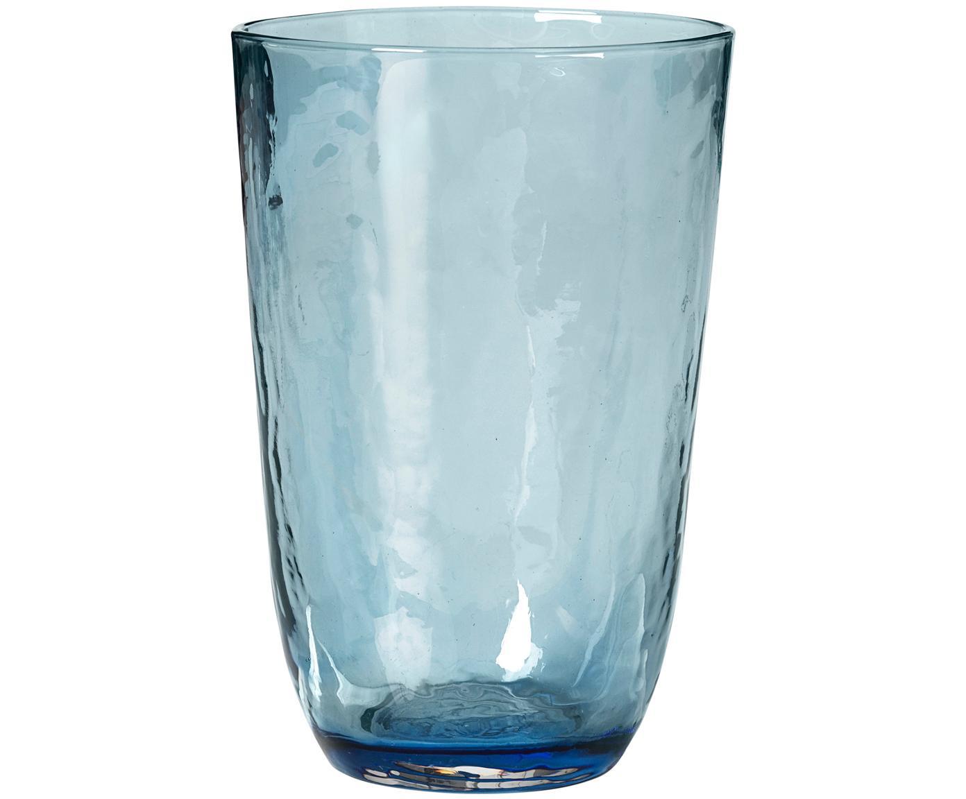 Vasos de vidrio soplado Hammered, 4uds., Vidrio soplado artesanalmente, Azul, transparente, Ø 9 x Al 14 cm