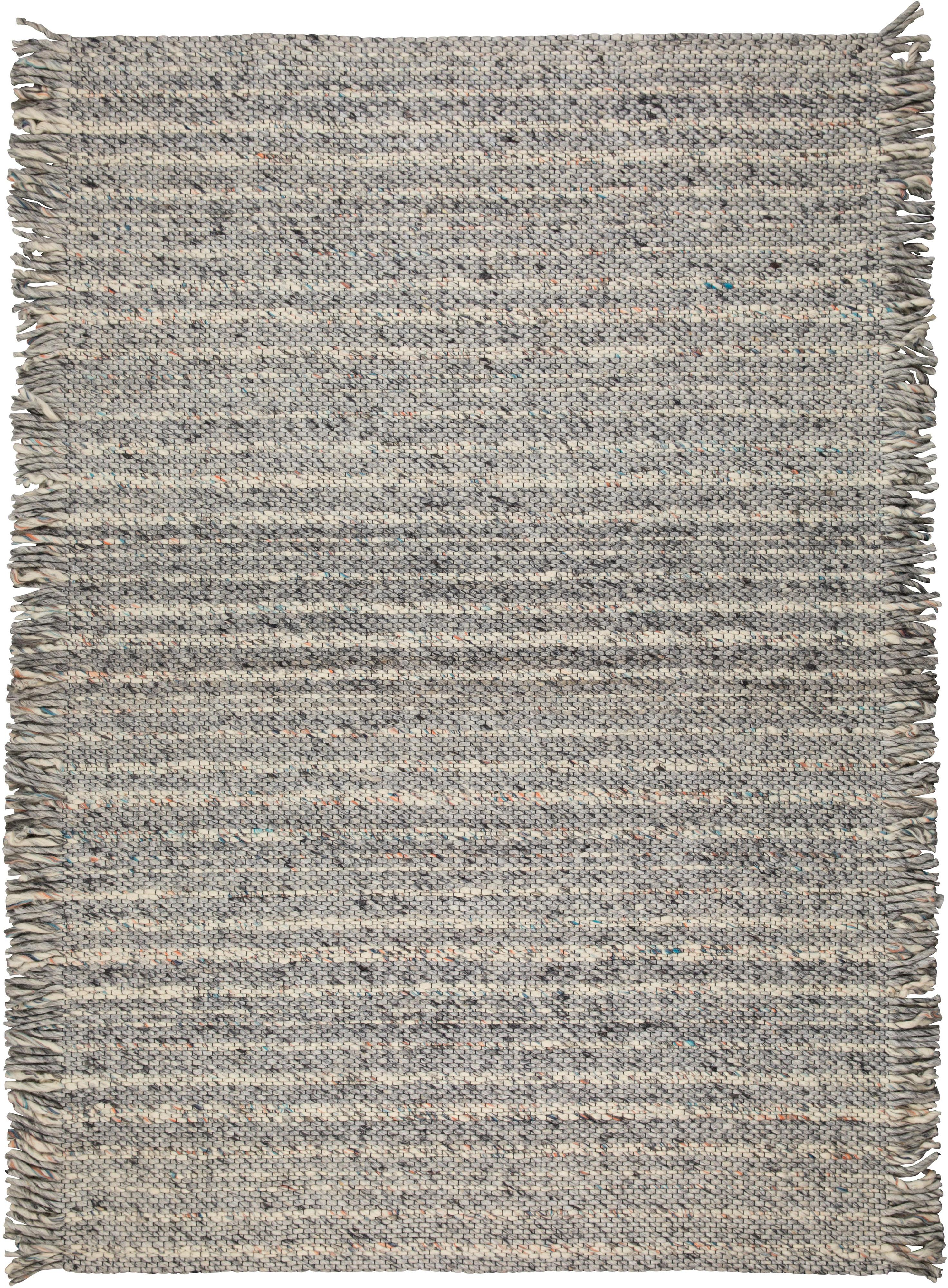 Alfombra de lana con flecos Fransen, Parte superior: 100%lana, Reverso: algodón Las alfombras de , Gris, beige, An 170 x L 240 cm (Tamaño M)