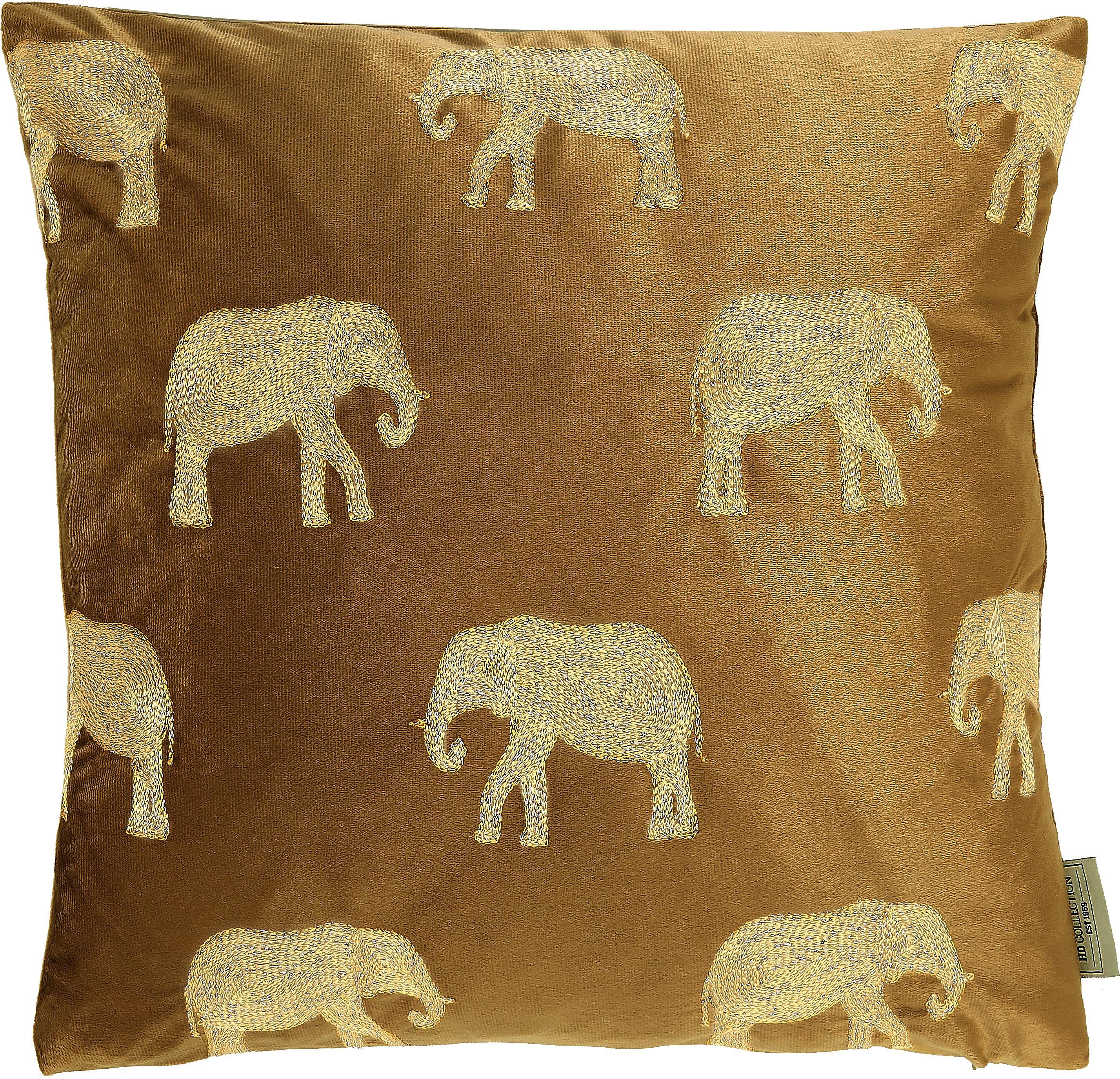 Geborduurd fluwelen kussen Elephant, met vulling, Fluweel, Bruin, goudkleurig, 45 x 45 cm