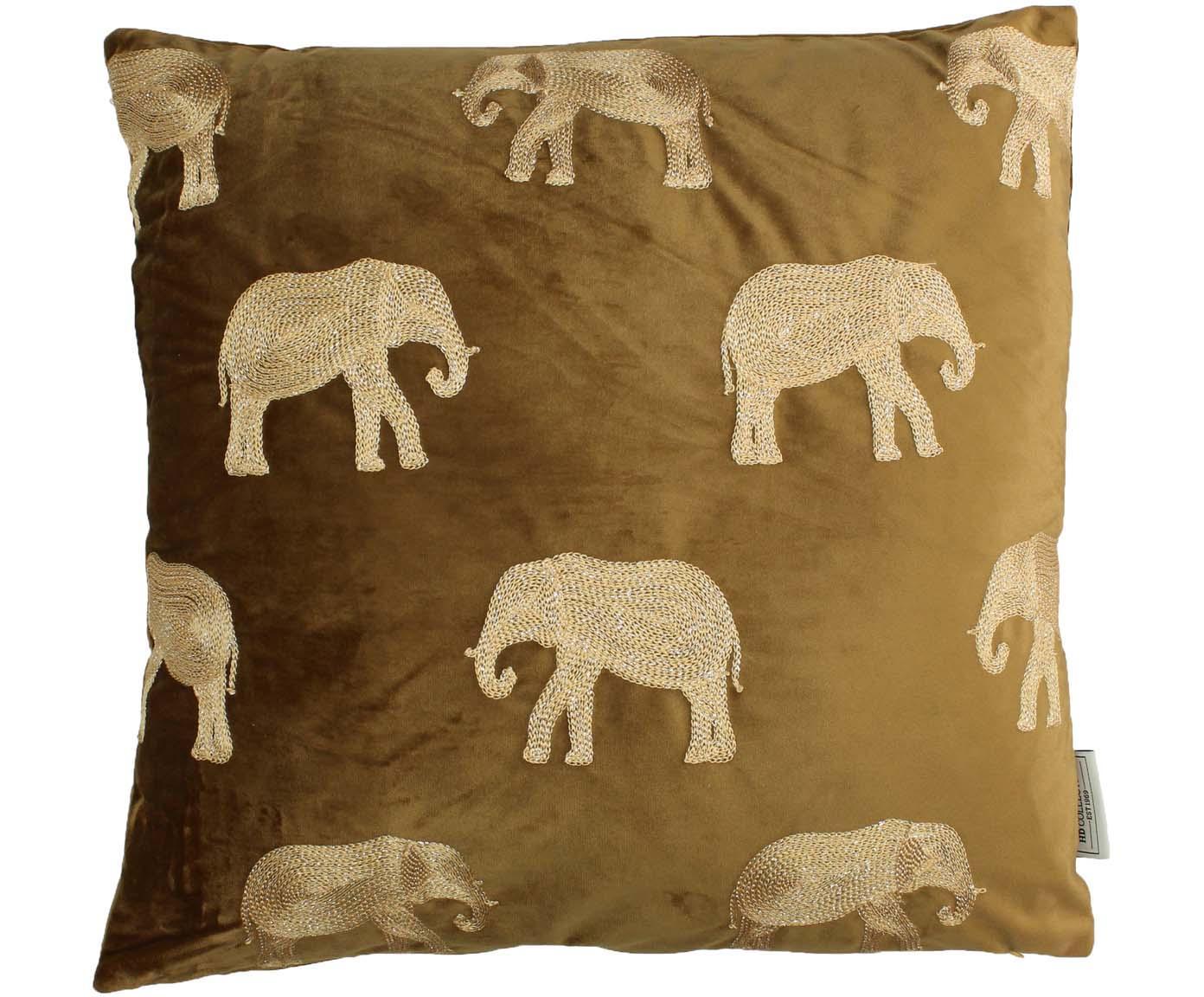 Cuscino in velluto ricamato Elephant, 100% velluto (poliestere), Marrone, dorato, Larg. 45 x Lung. 45 cm