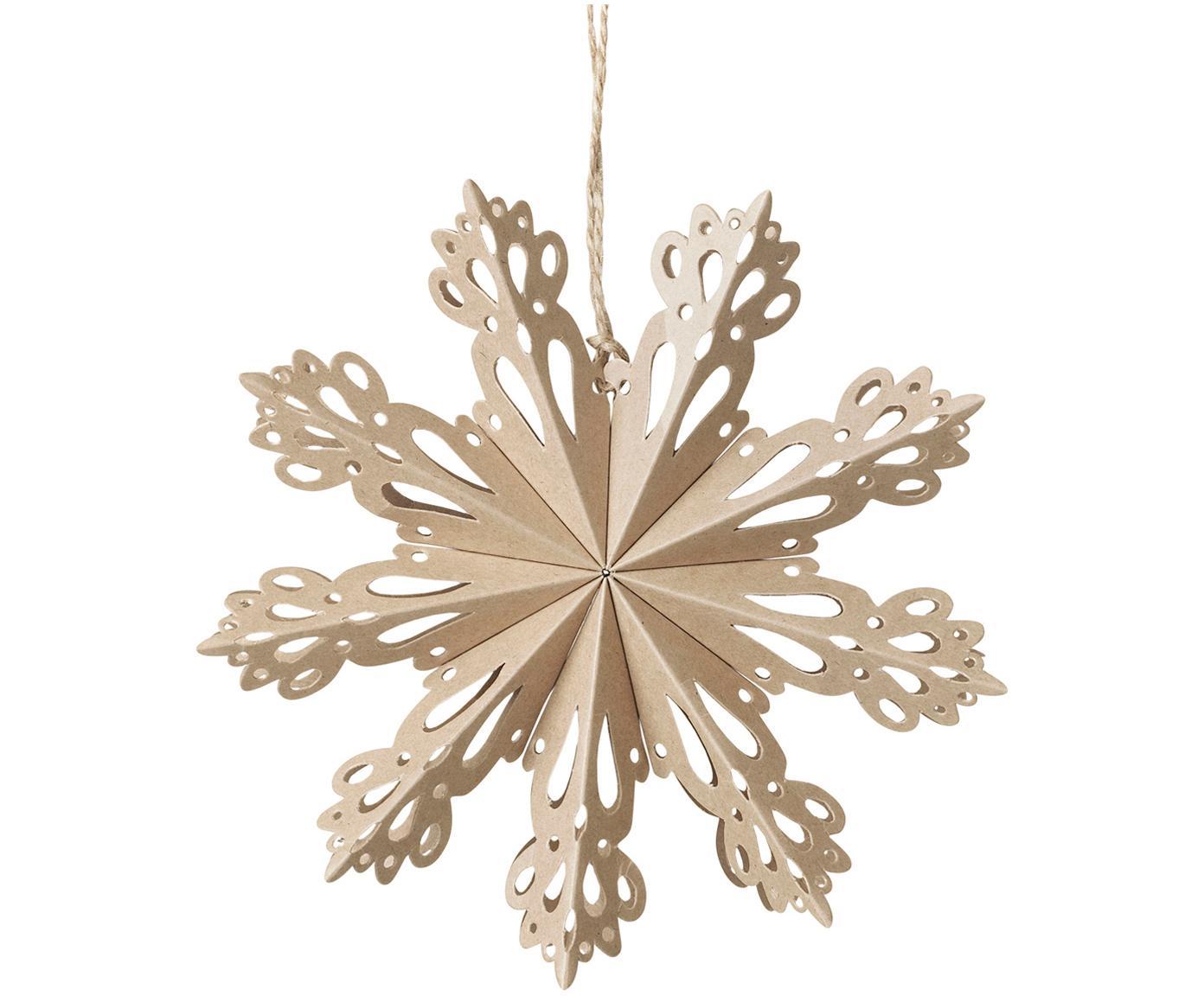Baumanhänger Snowflake, 2 Stück, Papier, Beige, Ø 15 cm