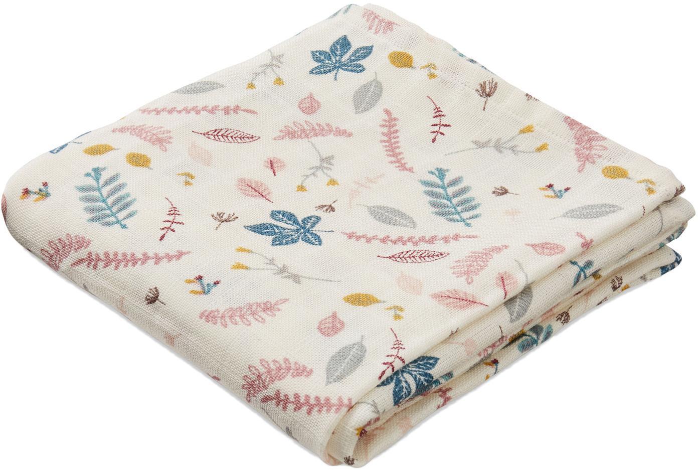 Pañales de tela Pressed Leaves, 2uds., Algodón orgánico, Crema, rosa, azul, gris, An 70 x L 70 cm