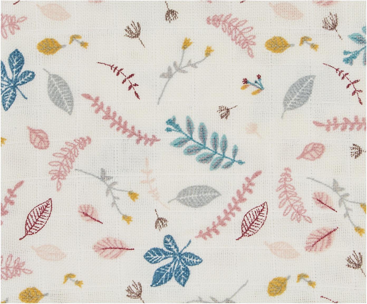 Bavlněná plenka z organické bavlny Pressed Leaves, 2 ks, Krémová, růžová, modrá, šedá