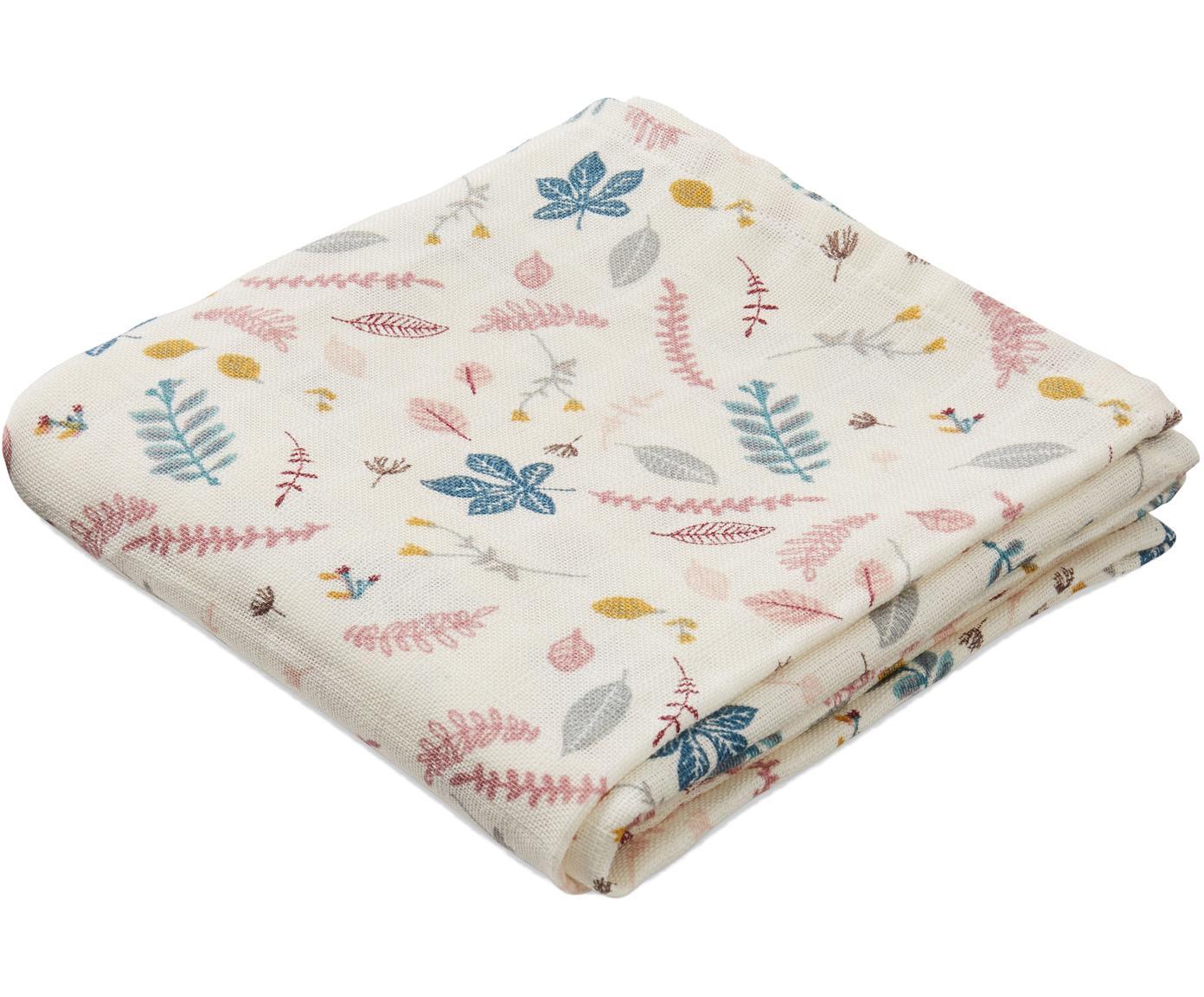 Hydrofiele doeken Pressed Leaves, 2 stuks, Organisch katoen, Crèmekleurig, roze, blauw, grijs, 70 x 70 cm