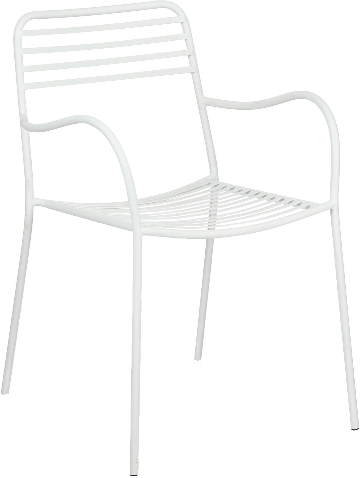 Balkon-Armlehnstühle Tula aus Metall, 2 Stück, Metall, pulverbeschichtet, Weiss, B 50 x T 60 cm