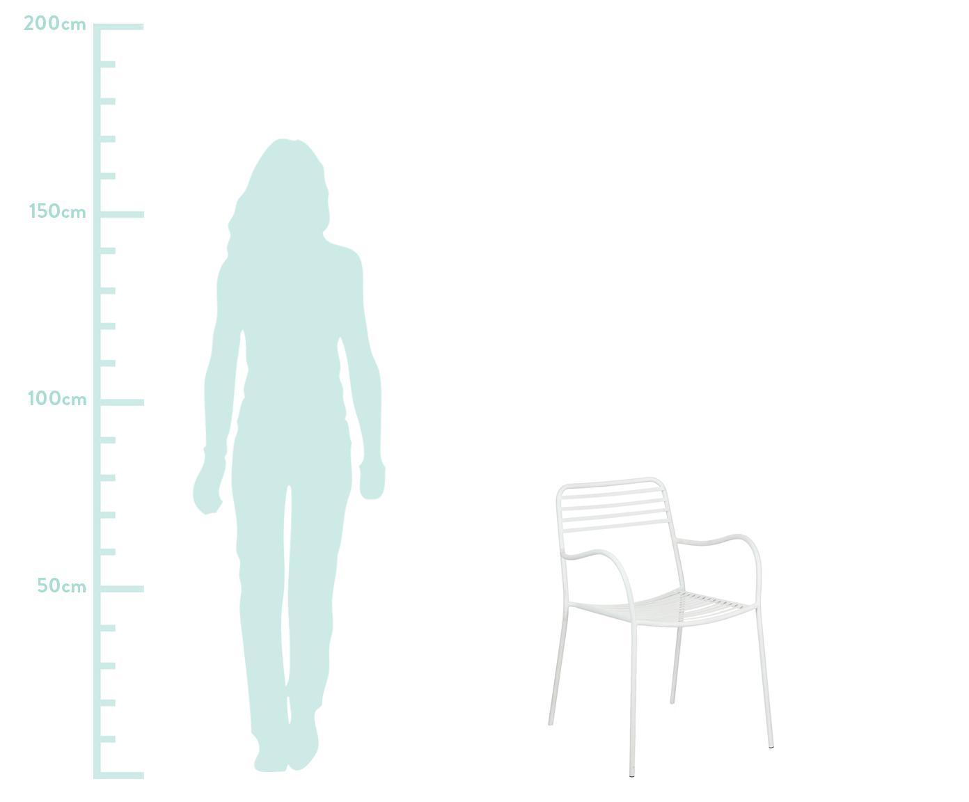 Krzesło balkonowe z metalu z podłokietnikami Tula, 2 szt., Metal malowany proszkowo, Biały, S 50 x G 60 cm