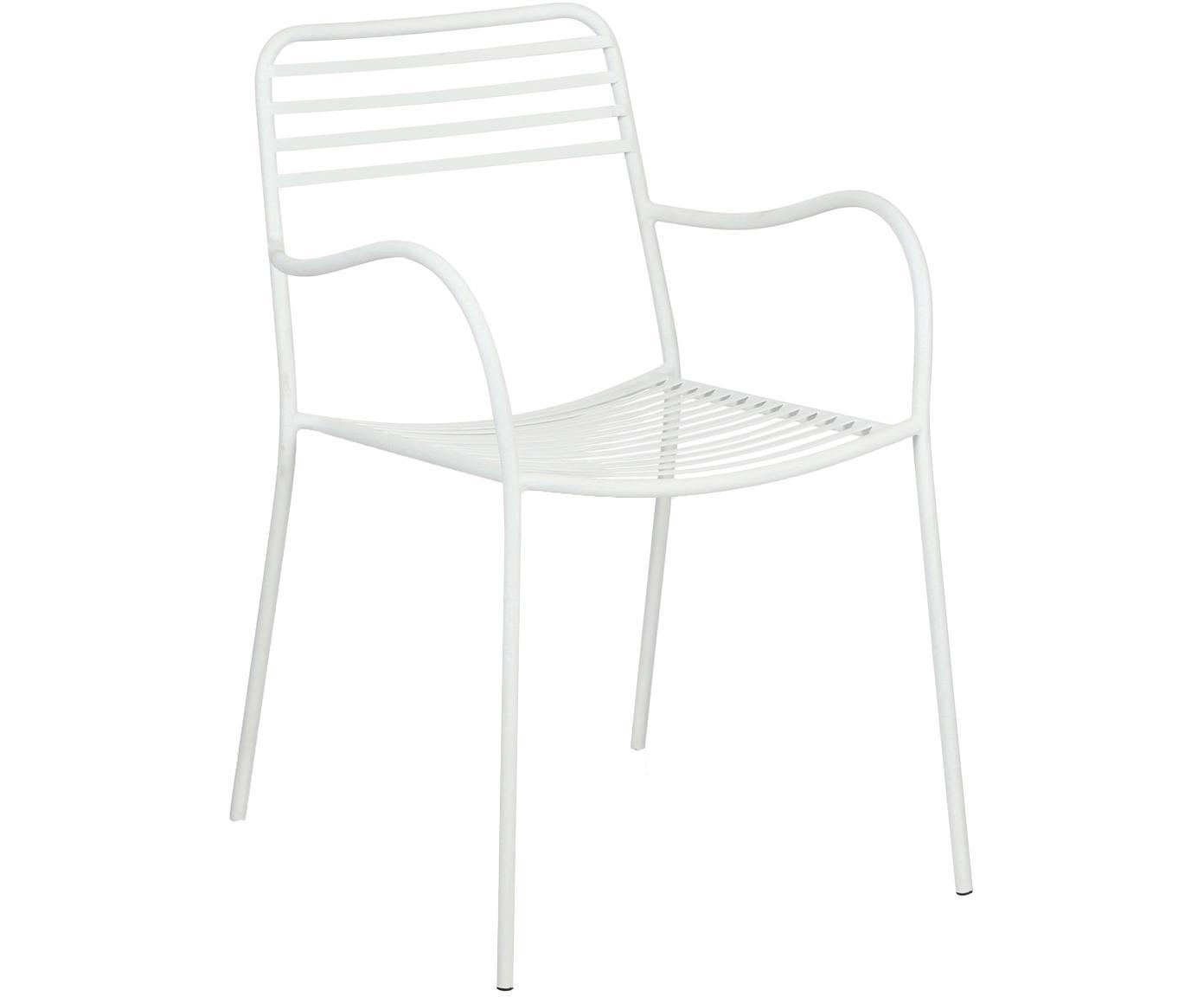 Balkon-Armlehnstühle Tula aus Metall, 2 Stück, Metall, pulverbeschichtet, Weiß, B 50 x T 60 cm