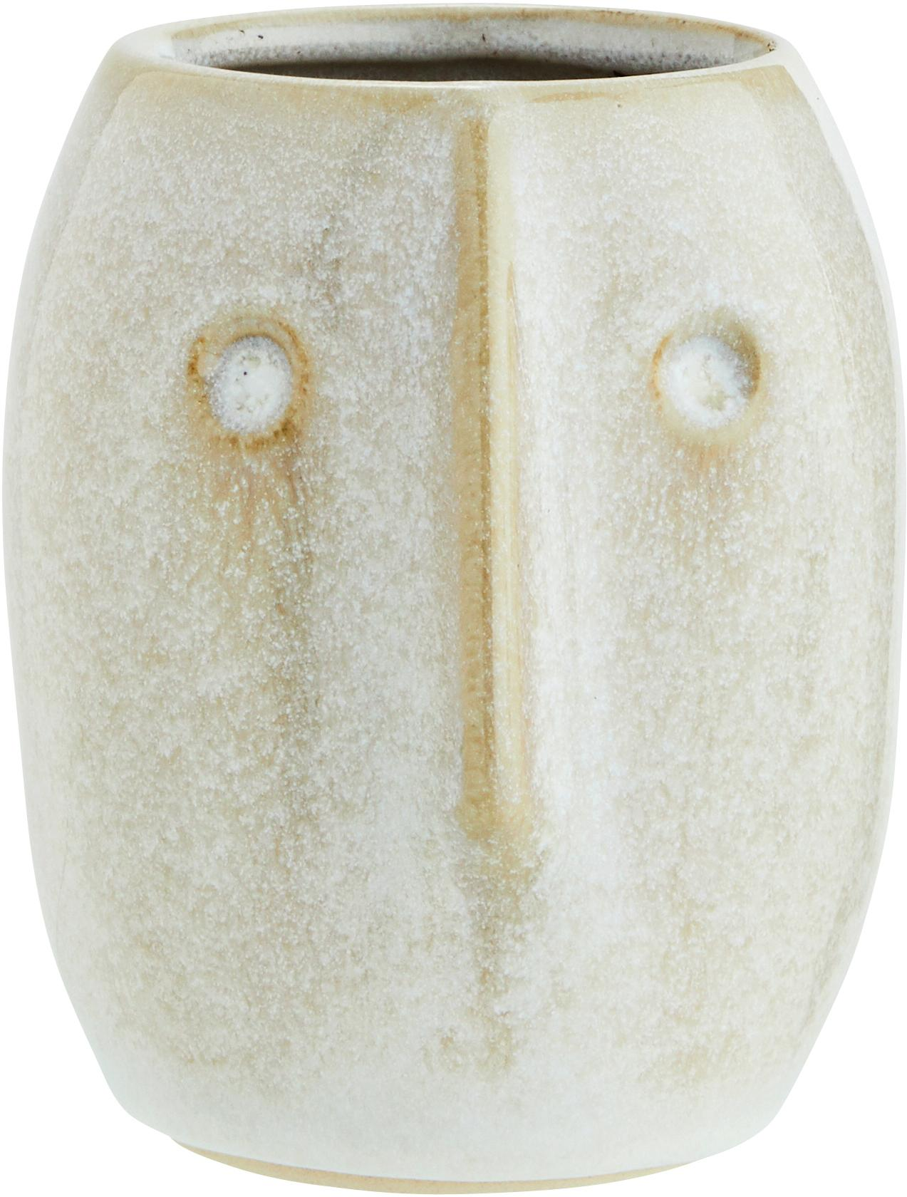 Übertopf Face, Steingut, Weiß, Beige, Ø 8 x H 10 cm
