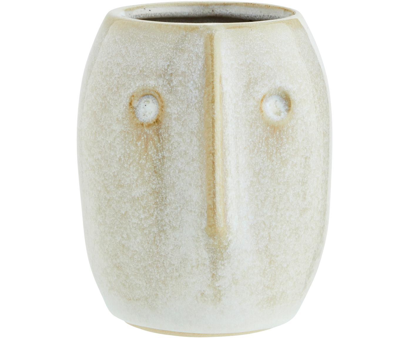 Macetero Face, Gres, Blanco, beige, Ø 8 x Al 10 cm