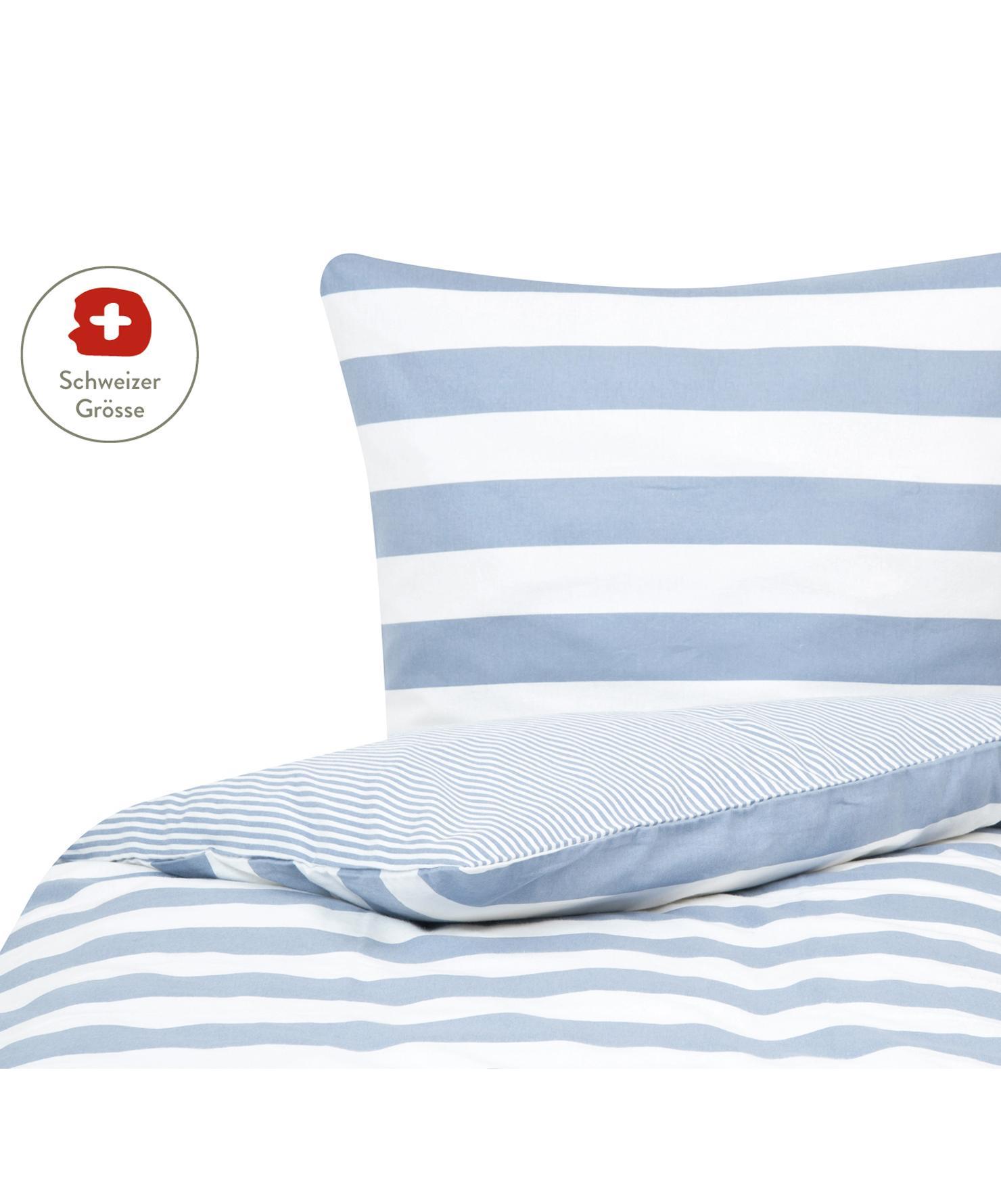 Flanell-Wendebettdeckenbezug Alice mit Sternen, Webart: Flanell Flanell ist ein s, Hellblau, Weiss, 160 x 210 cm