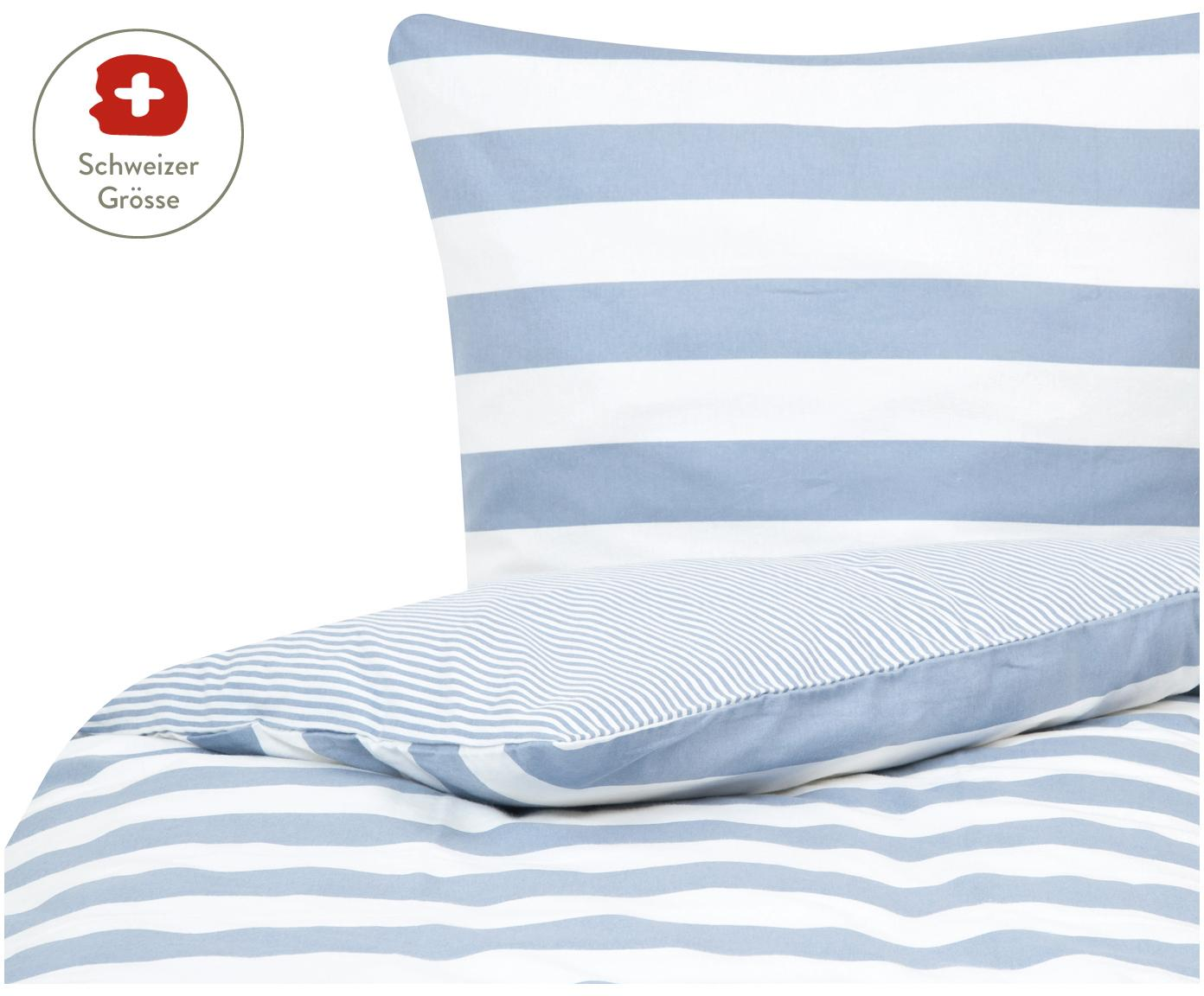 Flanell-Wendebettdeckenbezug Alice mit Sternen, Webart: Flanell, Hellblau, Weiss, 160 x 210 cm