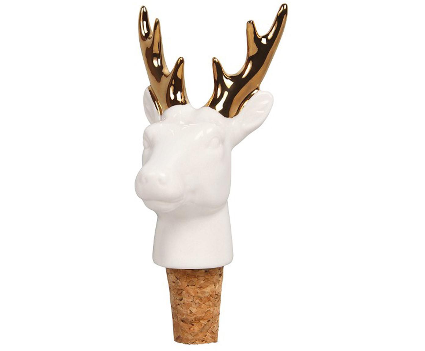 Flessenstop Deer, Porselein, kurk, Wit, goudkleurig, 6 x 13 cm