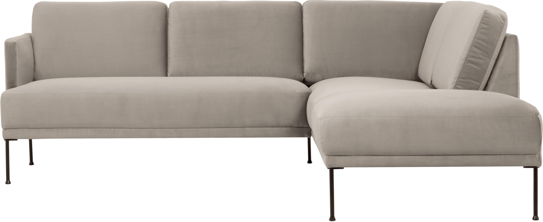 Samt-Ecksofa Fluente, Bezug: Samt (Hochwertiger Polyes, Gestell: Massives Kiefernholz, Samt Beige, B 221 x T 200 cm