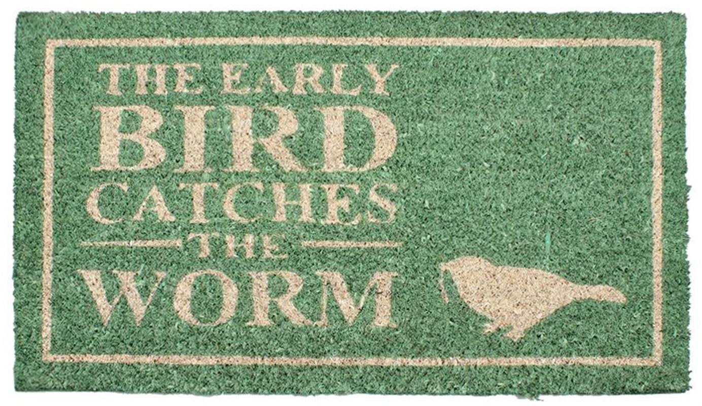Deurmat Early Bird, Bovenzijde: kokosvezels, Onderzijde: PVC, Saliegroen, beige, 40 x 70 cm