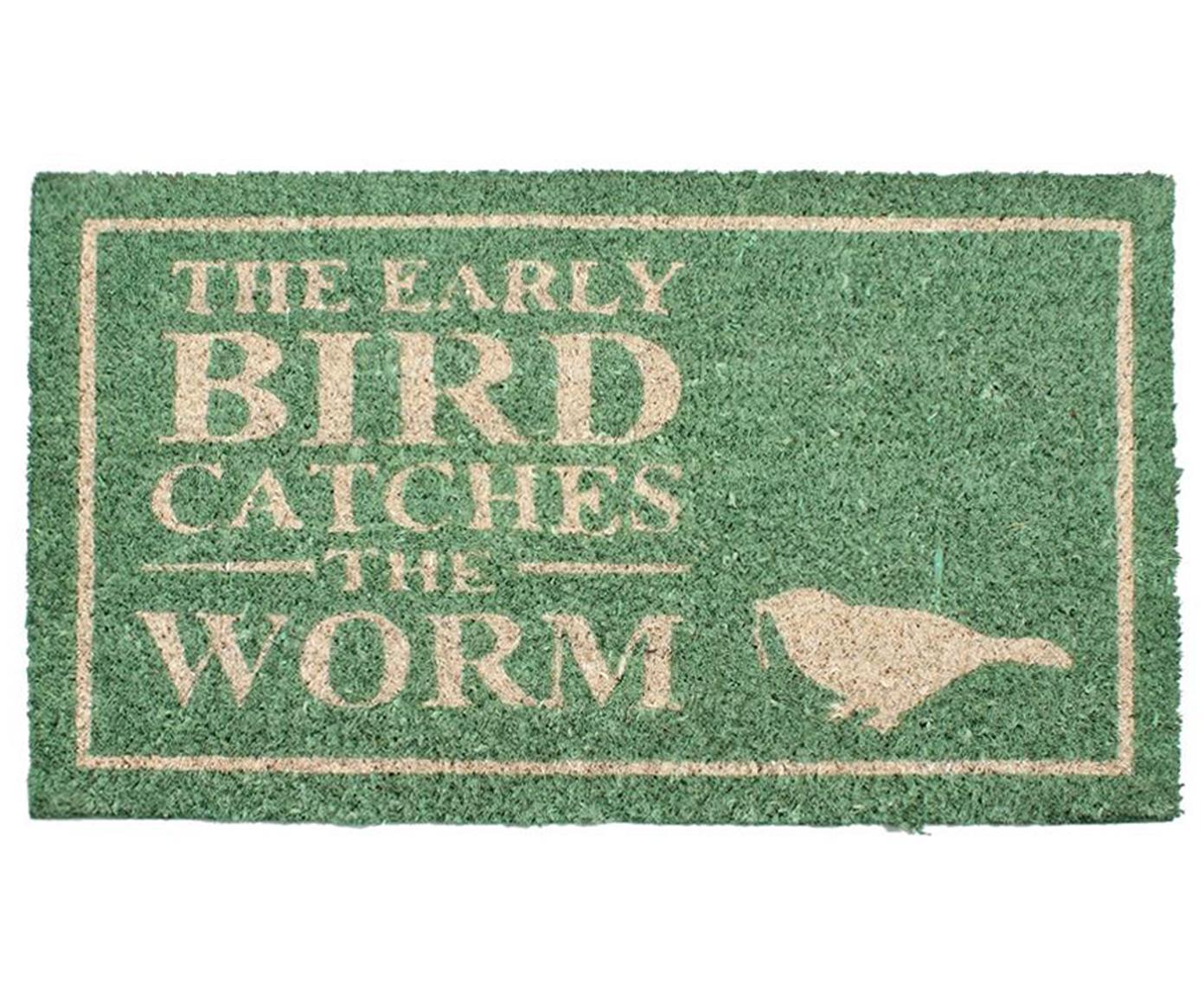 Fußmatte Early Bird, Oberseite: Kokosfaser, Unterseite: PVC, Salbeigrün, Beige, 40 x 70 cm