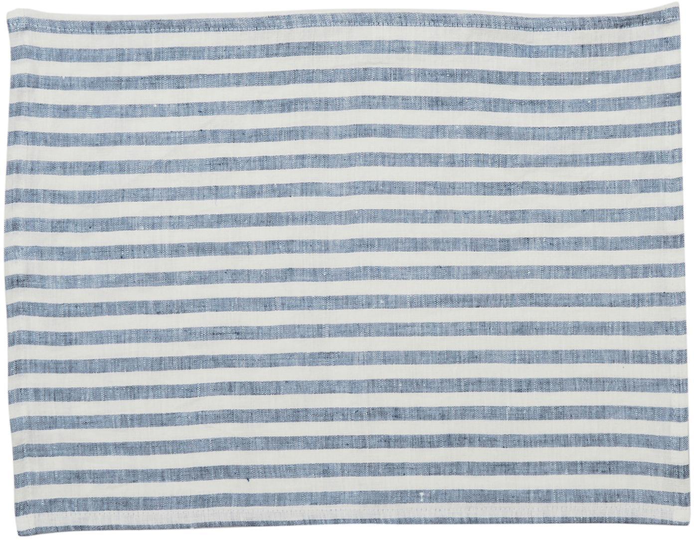 Leinen -Tischsets Solami, 2 Stück, Leinen, Hellblau, Weiß, 35 x 45 cm