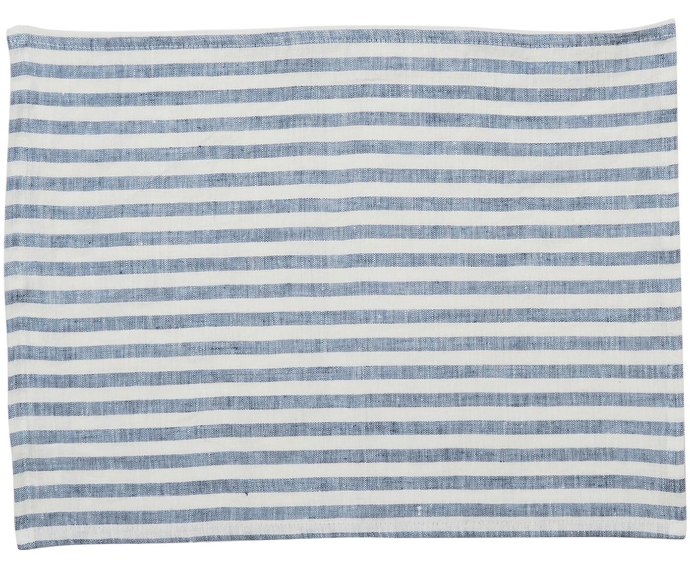 Leinen -Tischsets Solami, 2 Stück, Leinen, Hellblau, Weiss, 35 x 45 cm