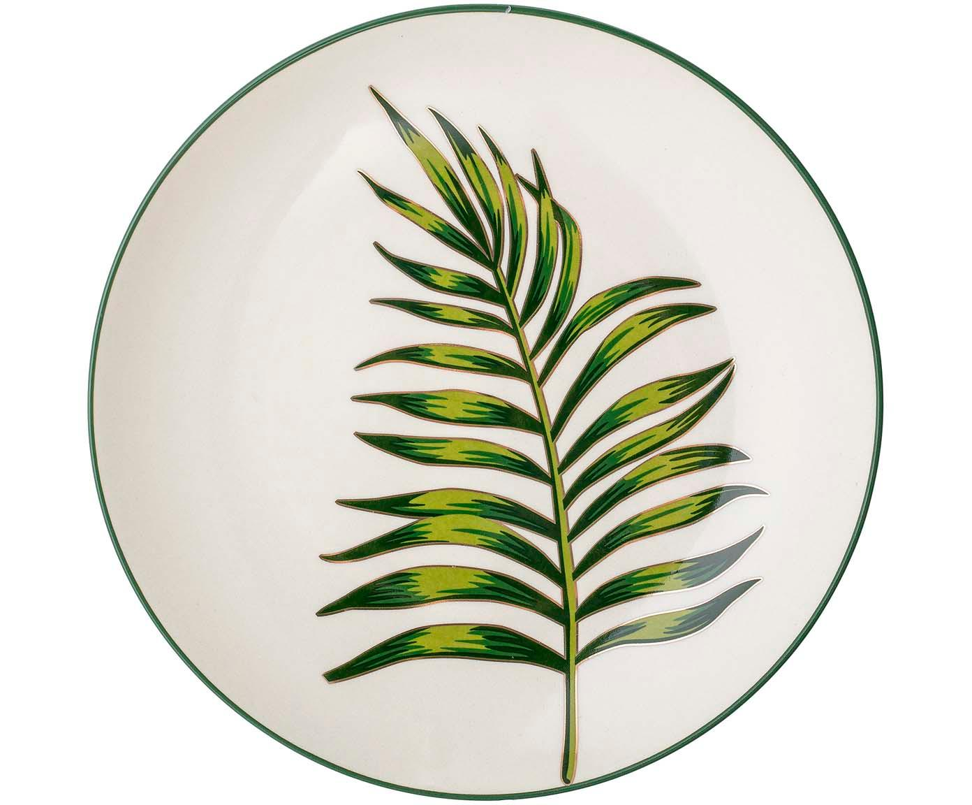 Plato llano Moana, Gres, Verde, blanco, Ø 25 cm