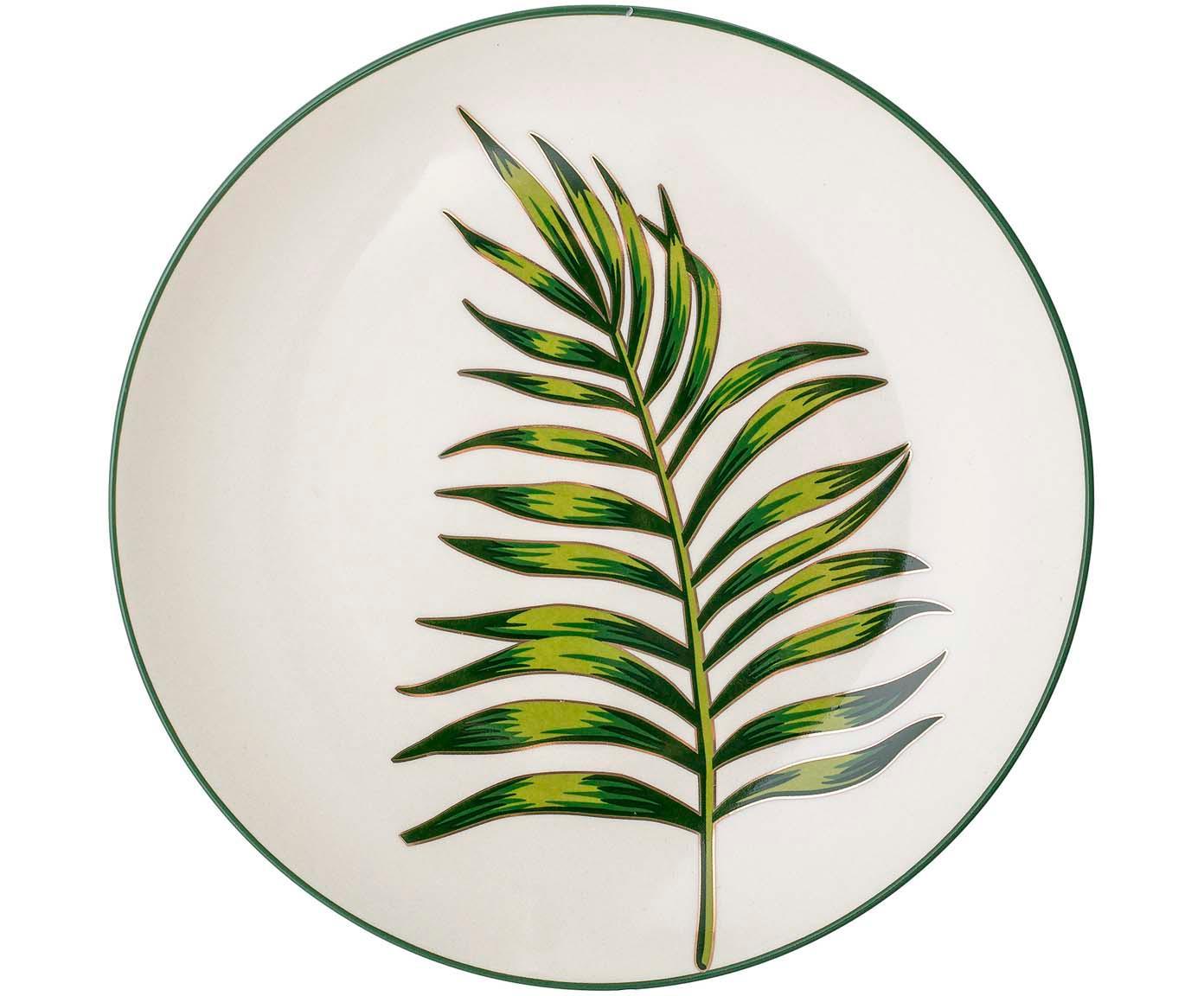 Talerz duży Moana, Kamionka, Zielony, biały, Ø 25 cm