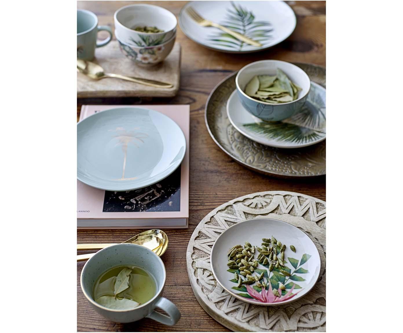 Speiseteller Moana mit tropischem Motiv, Steingut, Grün, Weiß, Ø 25 cm
