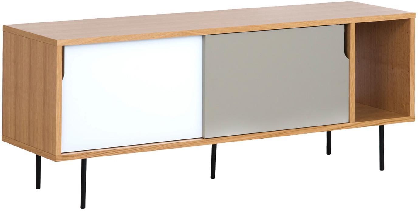 Sideboard Danny mit Schiebetüren, Oberfläche: Eichenechtholzfurnier, Korpus: Wabenkern Panel, Beine: Metall, lackiert, Eichenholz, Mattweiß, Mattgrau, Schwarz, 165 x 65 cm