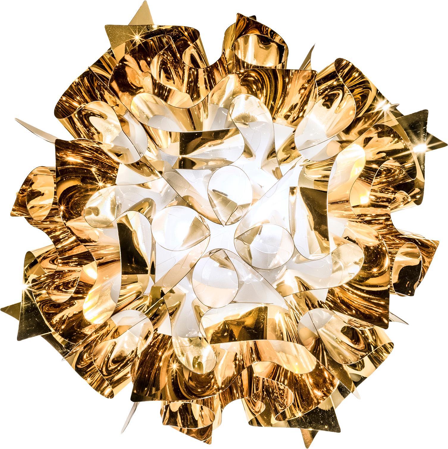 Handgefertigte Deckenleuchte Veli, Technoplymer Goldflex®, bruchfest, flexibel, stark glänzend, Goldfarben, Ø 53 x H 20 cm