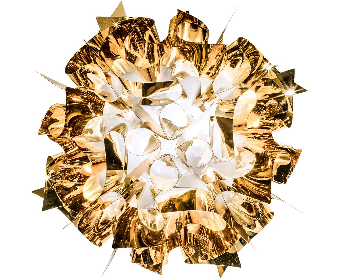 Handgemaakte Plafondlamp Veli, Technoplymeer Goldflex®, breekvast, flexibel, sterk glanzend, Goudkleurig, Ø 53 x H 20 cm