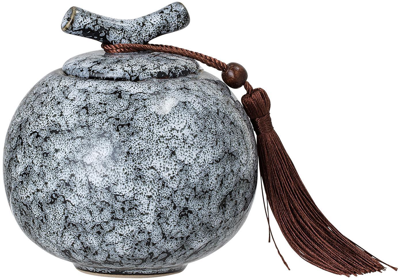 Contenitore con coperchio Ebba, Contenitore: gres, Nero, grigio, Ø 11 x Alt. 13 cm