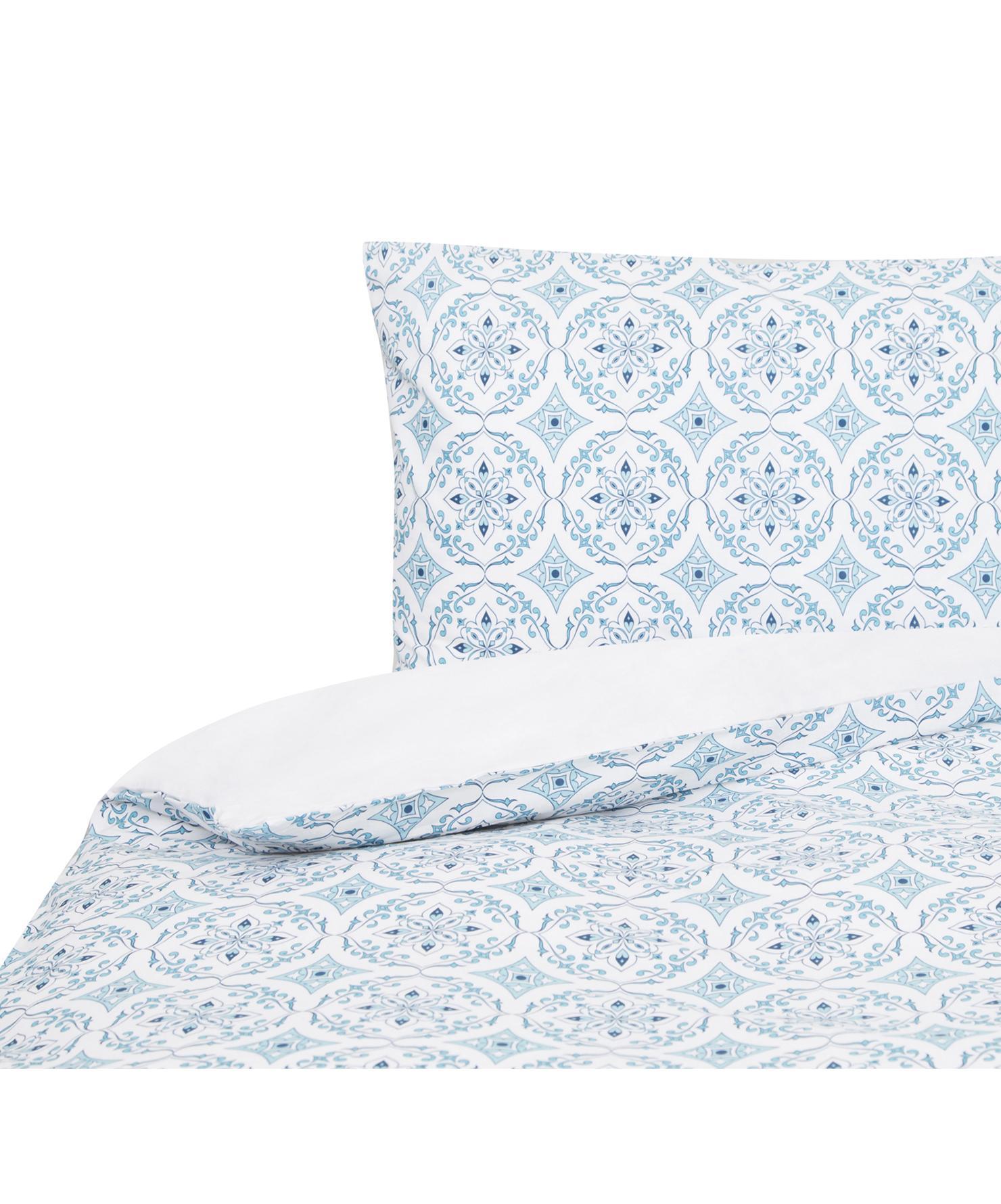Funda nórdica doble cara Crackle , Algodón, Blanco, azul, Cama 90 cm (160 x 220 cm)