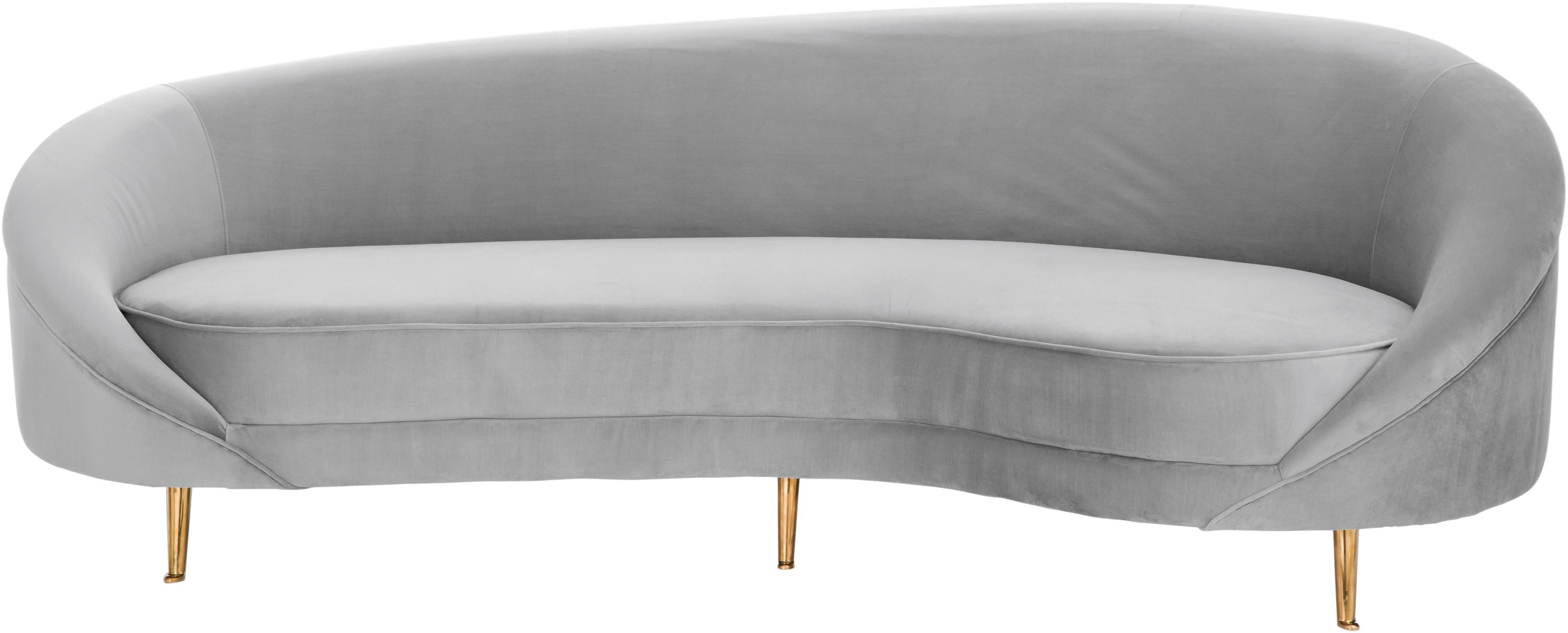 Sofá de terciopelo con forma de riñón Gatsby (3plazas), Tapizado: terciopelo (poliéster) 25, Estructura: madera de eucalipto maciz, Patas: metal, galvanizado, Terciopelo gris, An 245 x F 102 cm